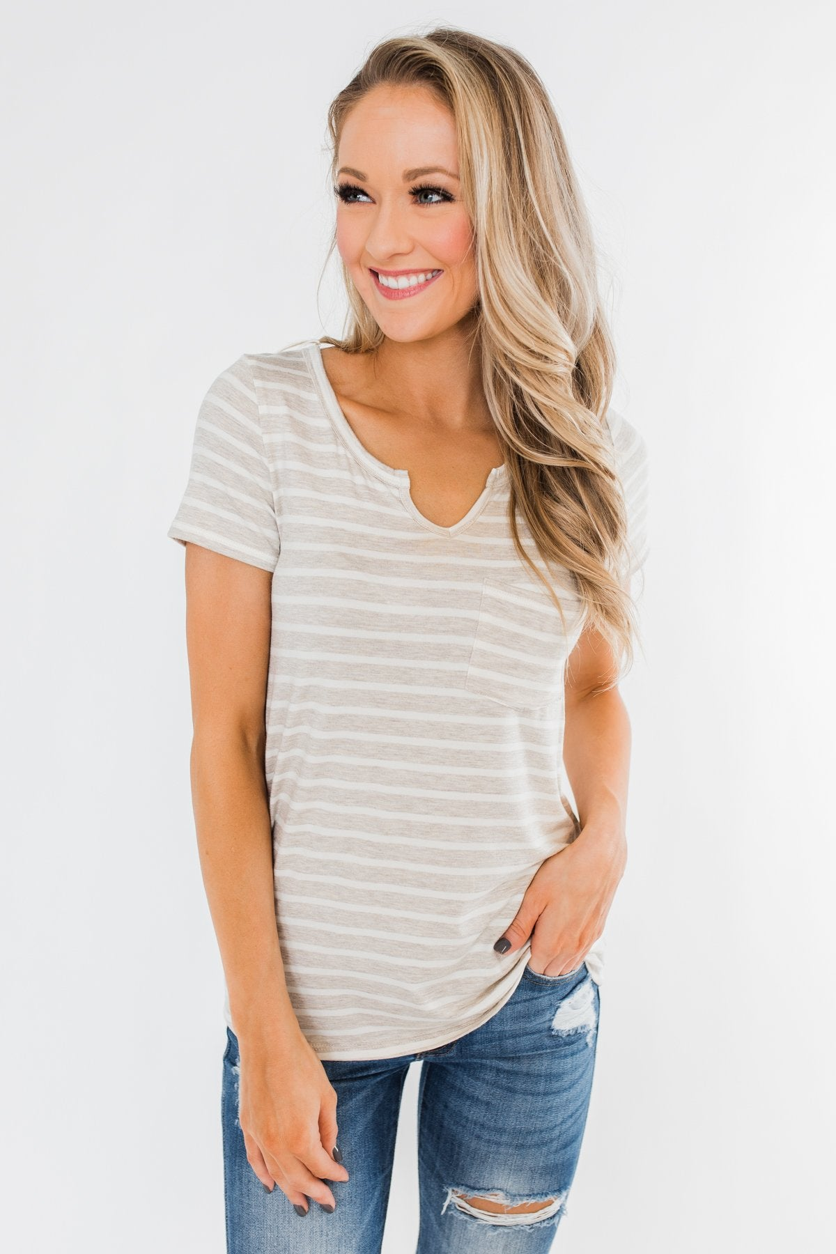 This is Me Striped Notch Pocket Top- Oatmeal & Ivory