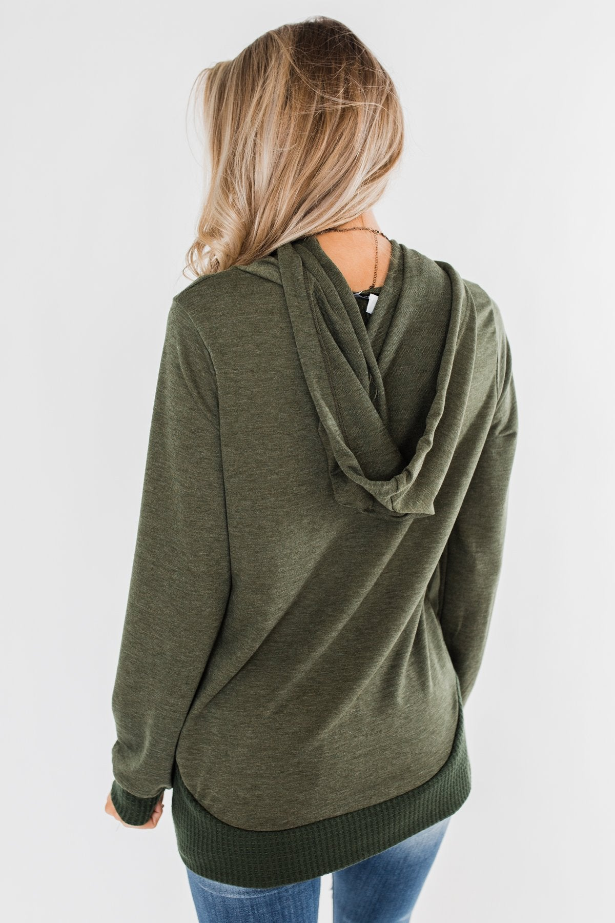 Crazy About You Drawstring Hoodie- Dark Olive