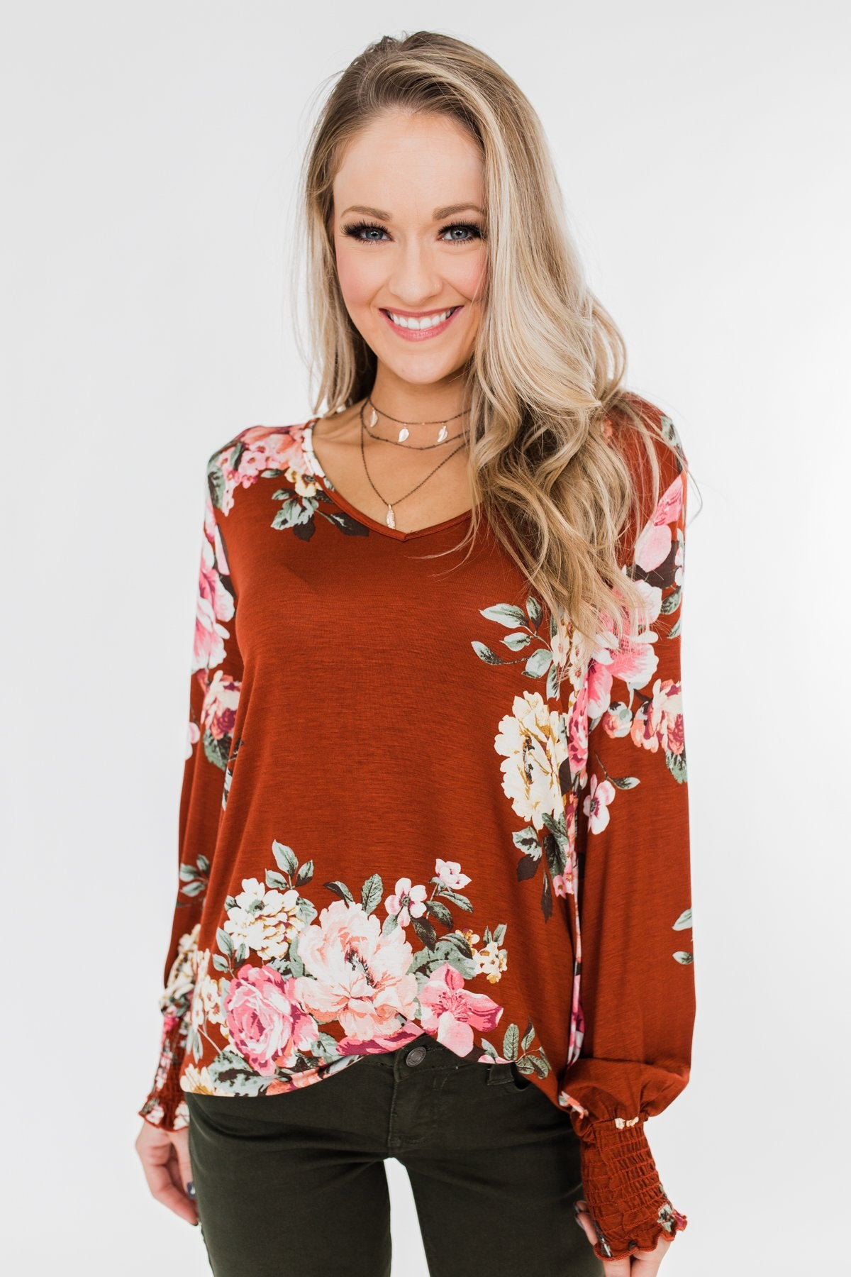 Lovely Feelings Long Sleeve Floral Blouse- Spiced Apple Red