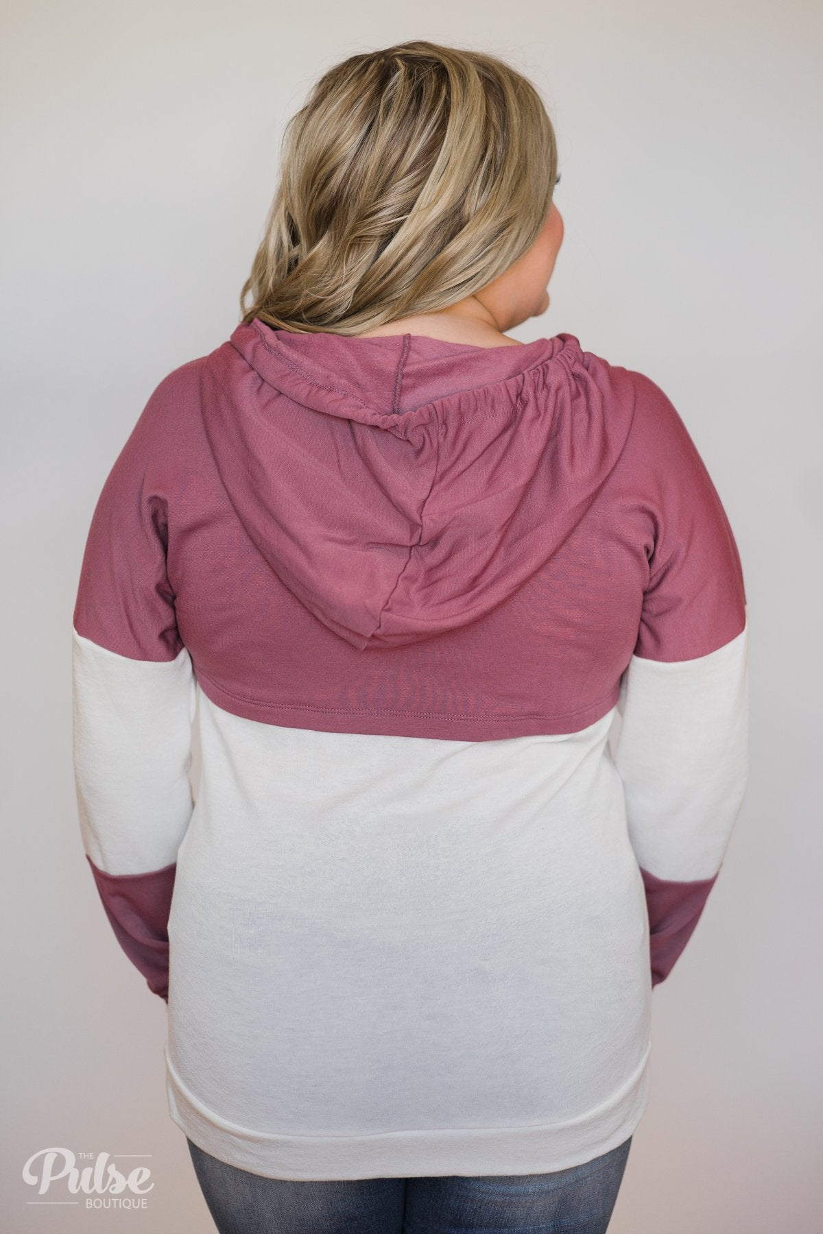 Room For More Color Block Hoodie- Mulberry & Ivory