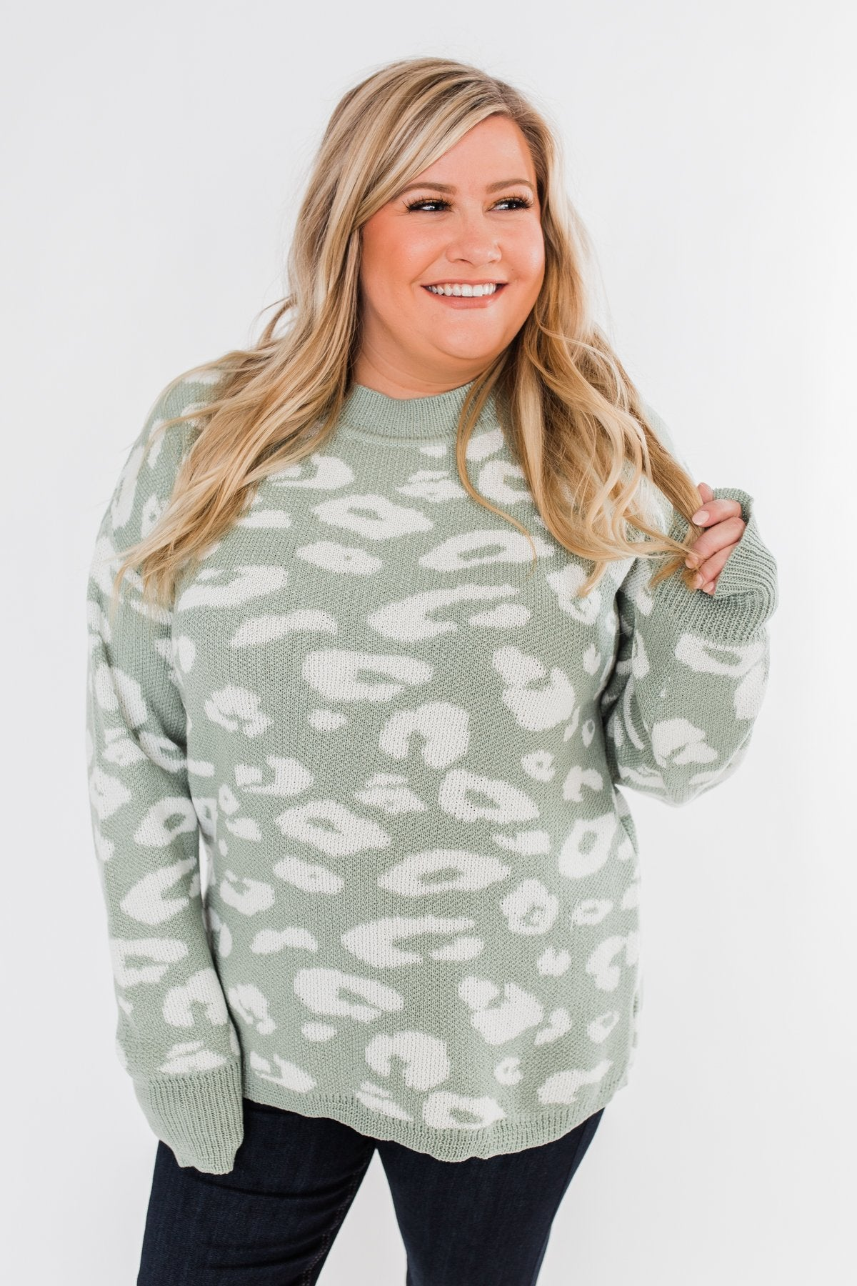 Journey Into The Jungle Leopard Sweater- Light Sage