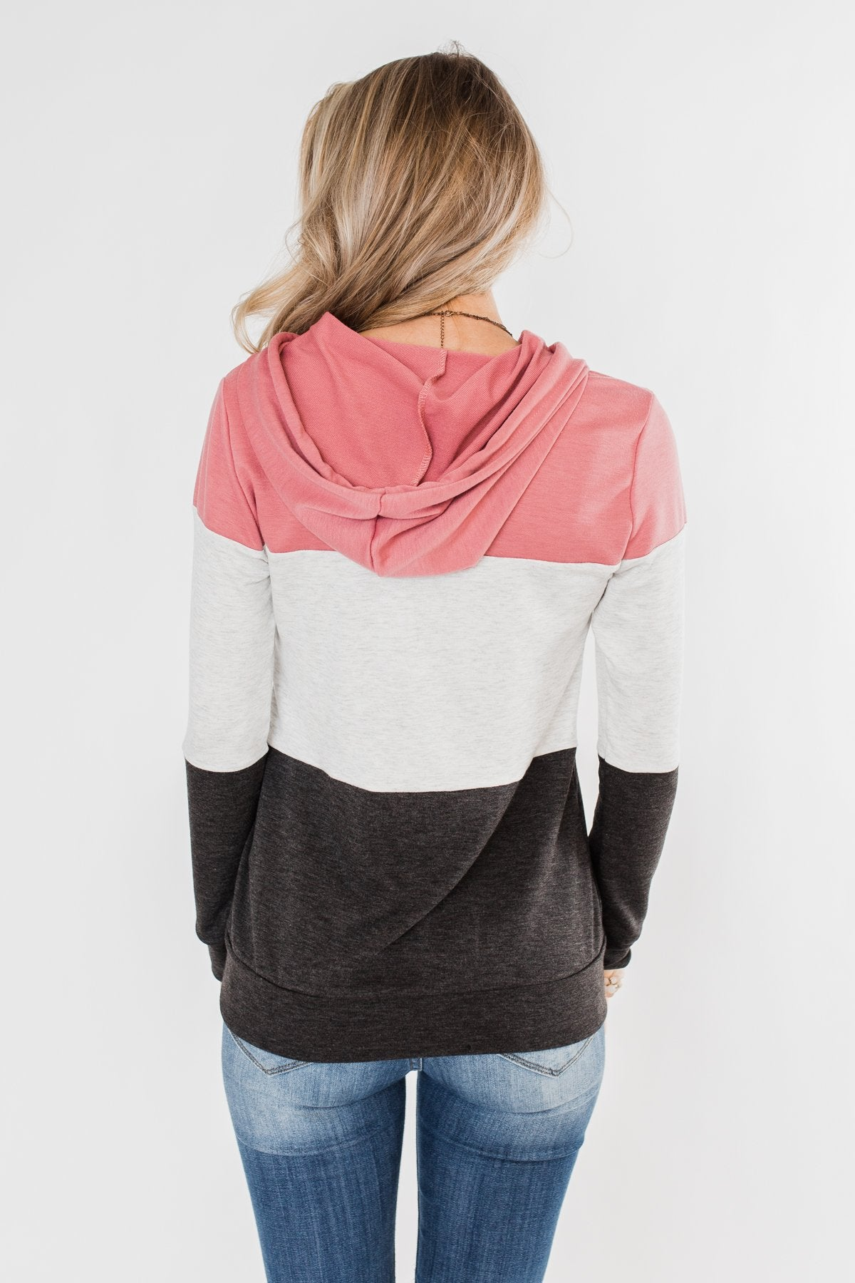 Anyway I Want Color Block Hoodie- Dusty Pink & Charcoal