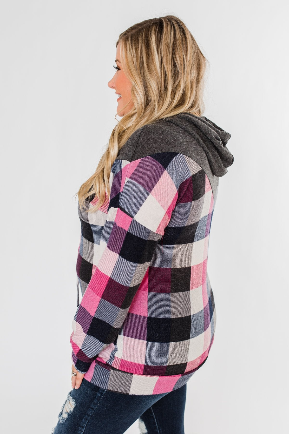 It's Always Been You Flannel Hoodie- Charcoal & Pink Tones