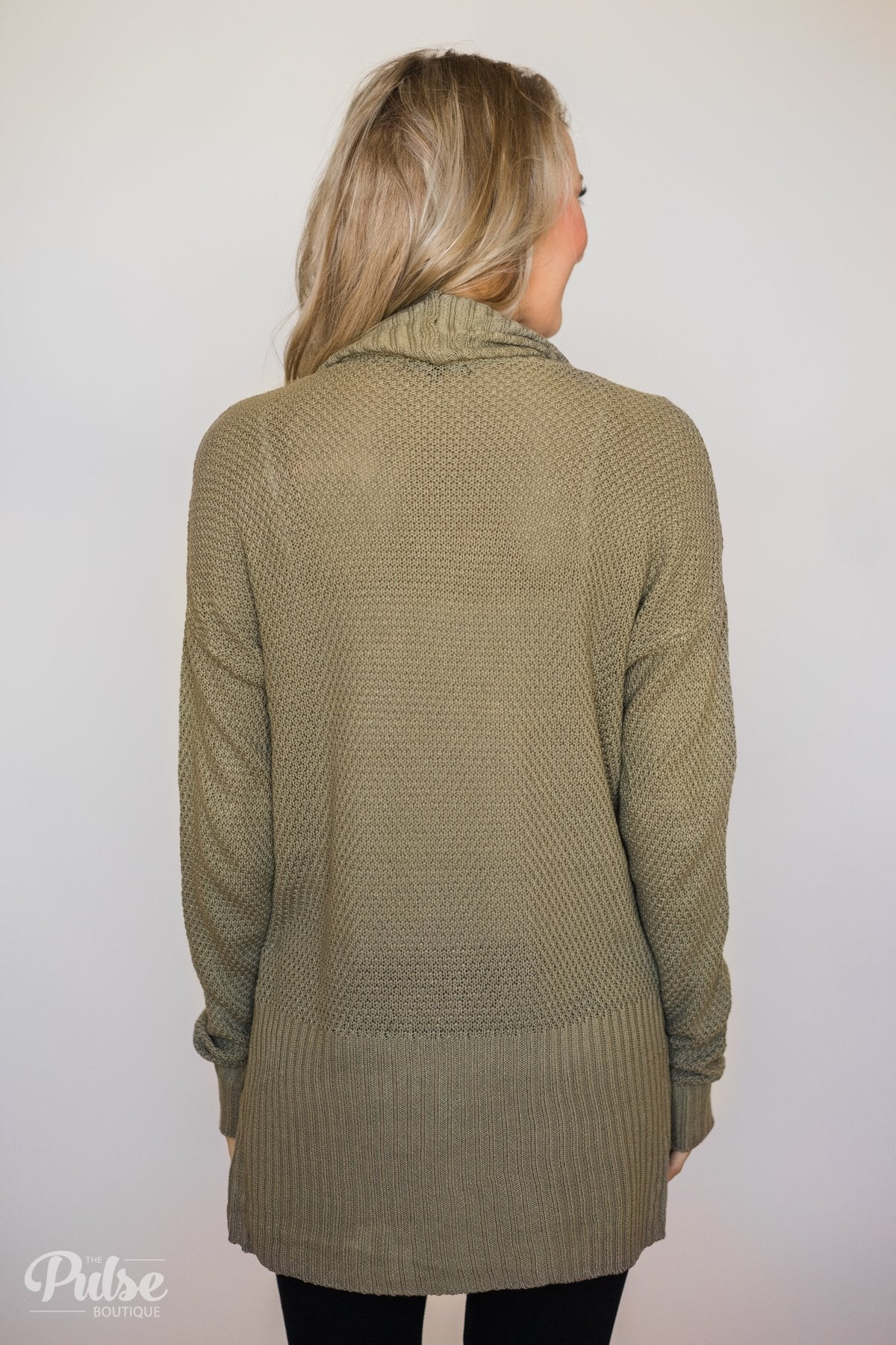 Knitted Drape Cardigan- Olive