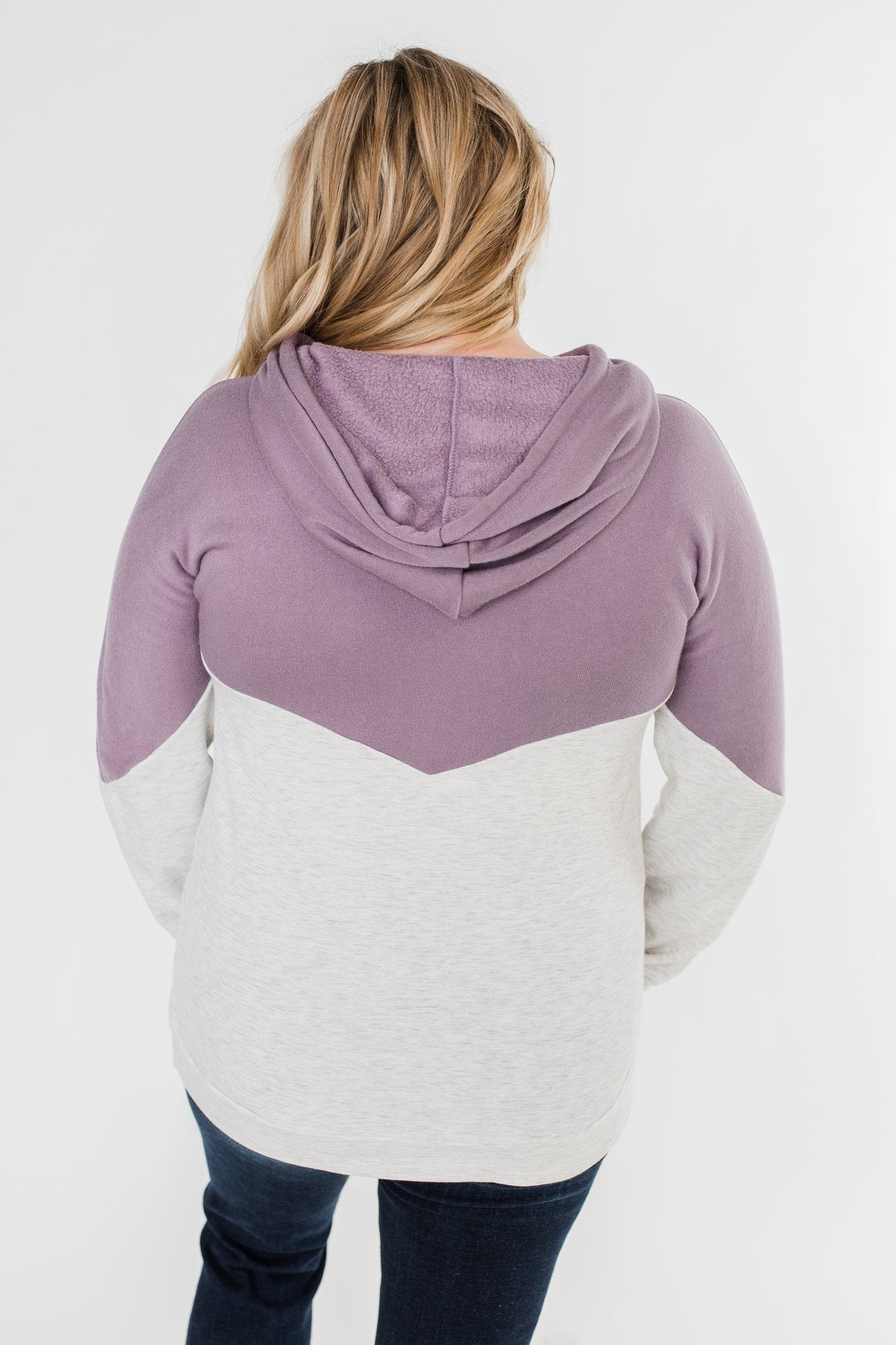 Promise Me Color Block Hoodie- Heather Grey & Lilac
