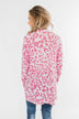 Long Sleeve Leopard Cardigan- Taffy Pink