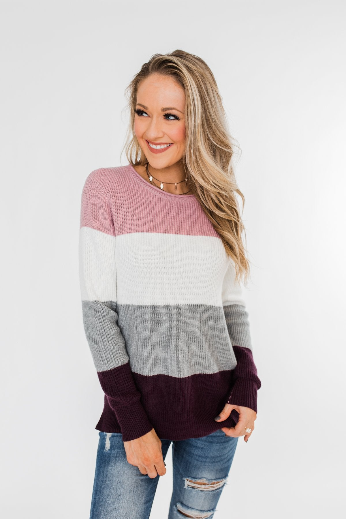 Say You Love Me Knit Sweater- Grey & Plum