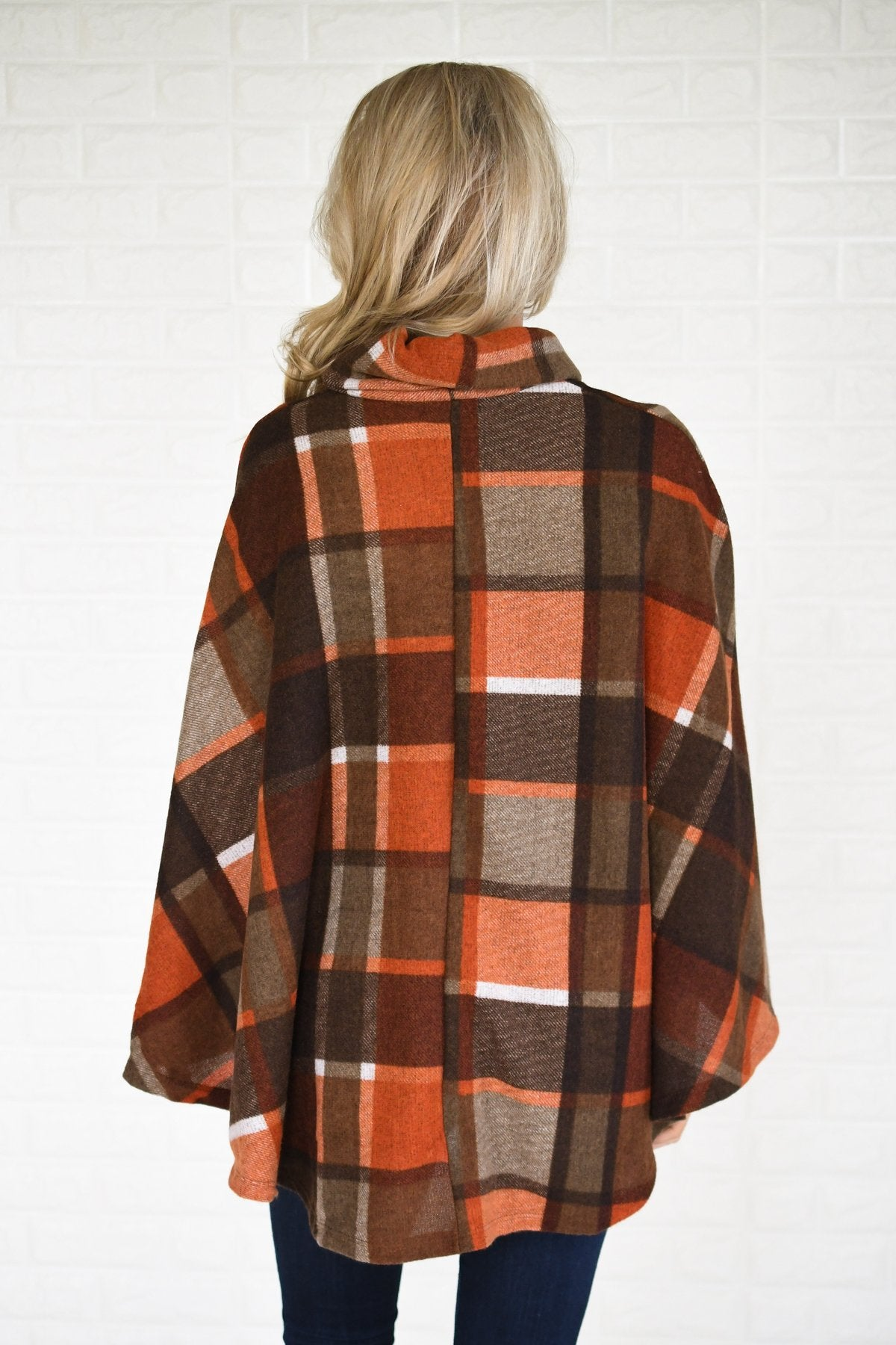 Colors of Fall Plaid Poncho Top