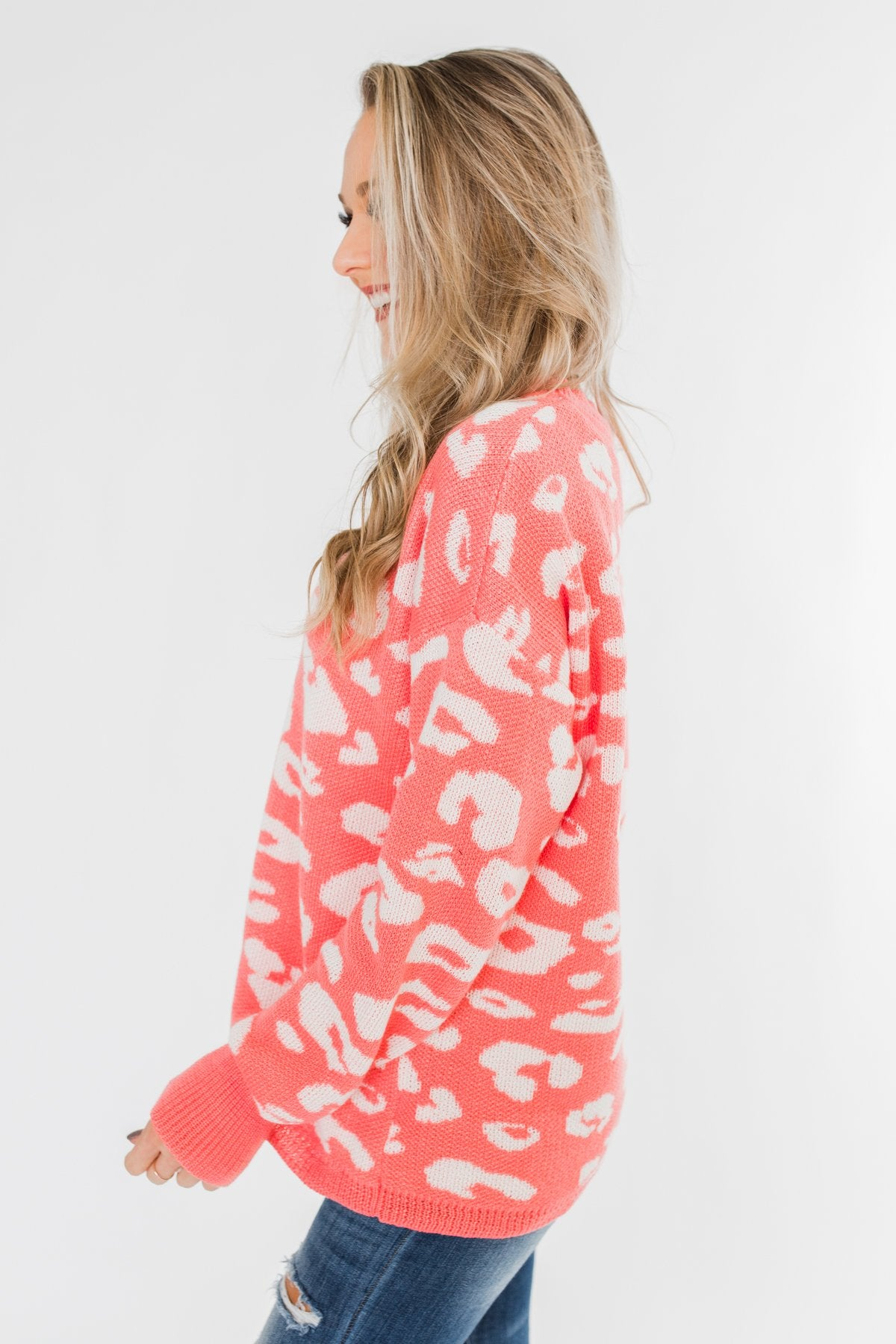Journey Into The Jungle Leopard Sweater- Coral