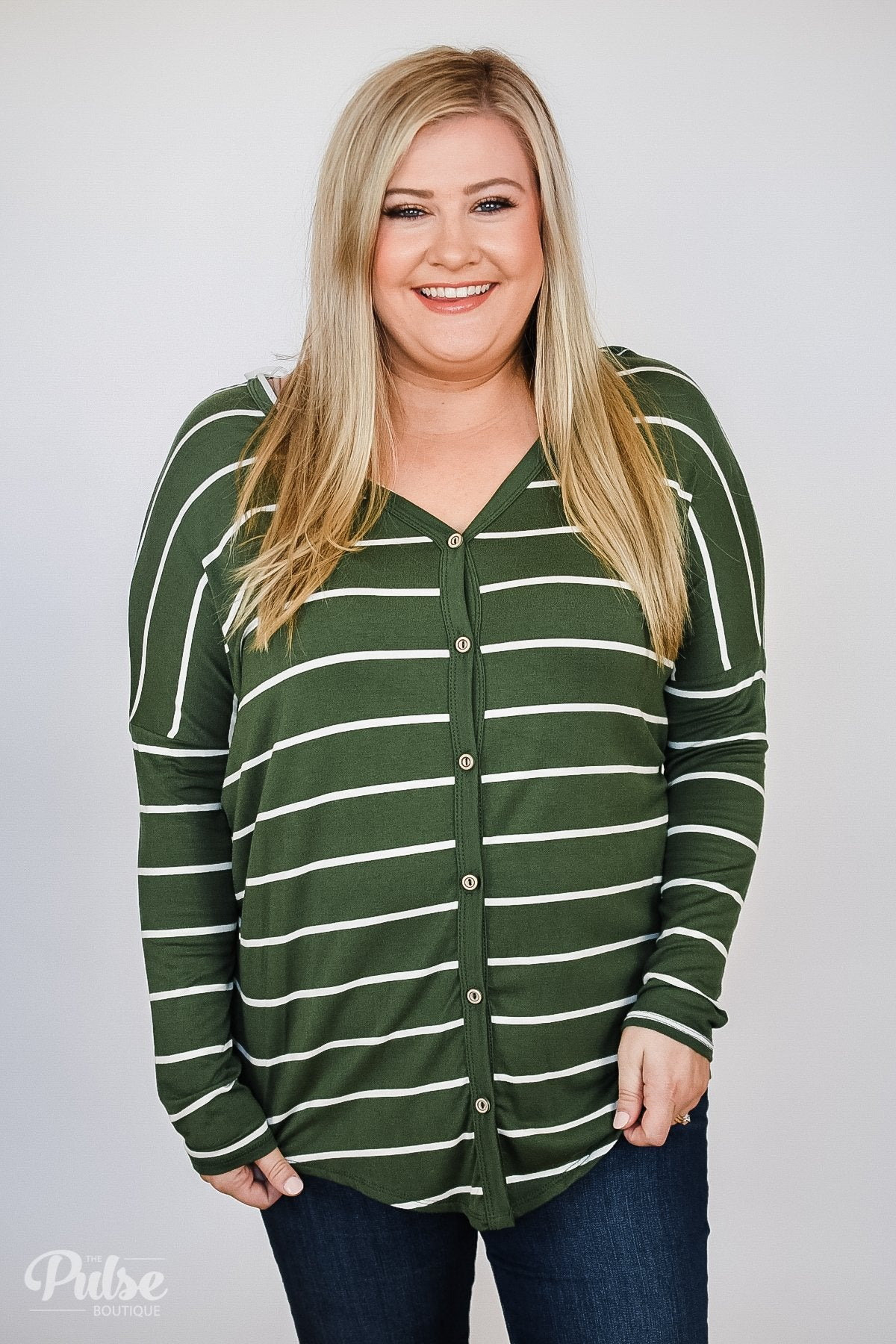 Caught Up to You Long Sleeve Striped Top- Green