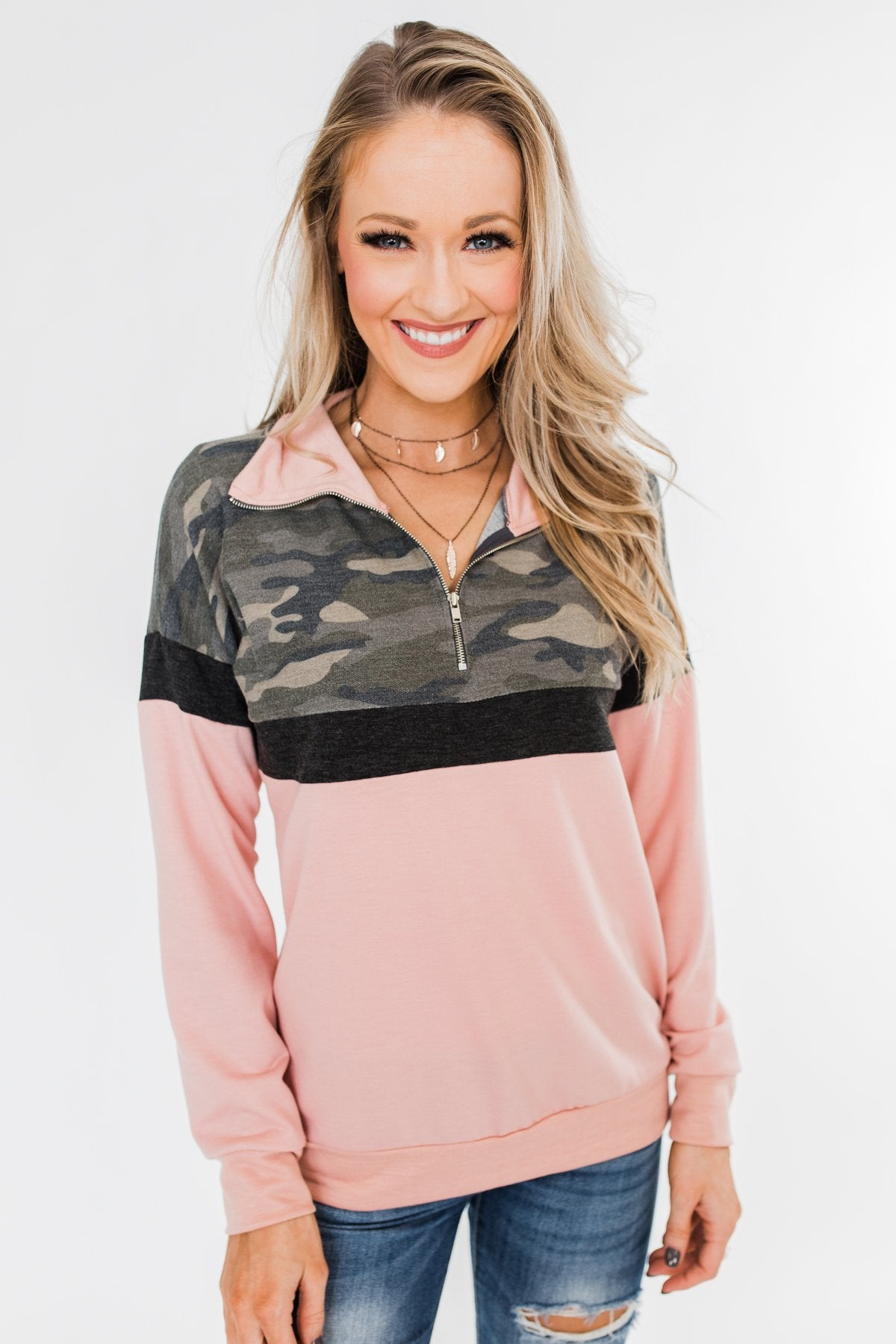 Our Little Secret Quarter Zip Pullover- Camo & Blush