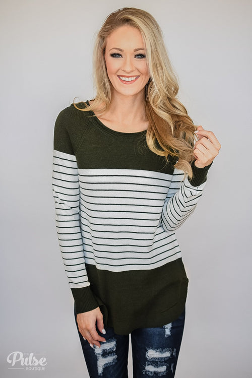 Have It Your Way Striped Sweater- Olive