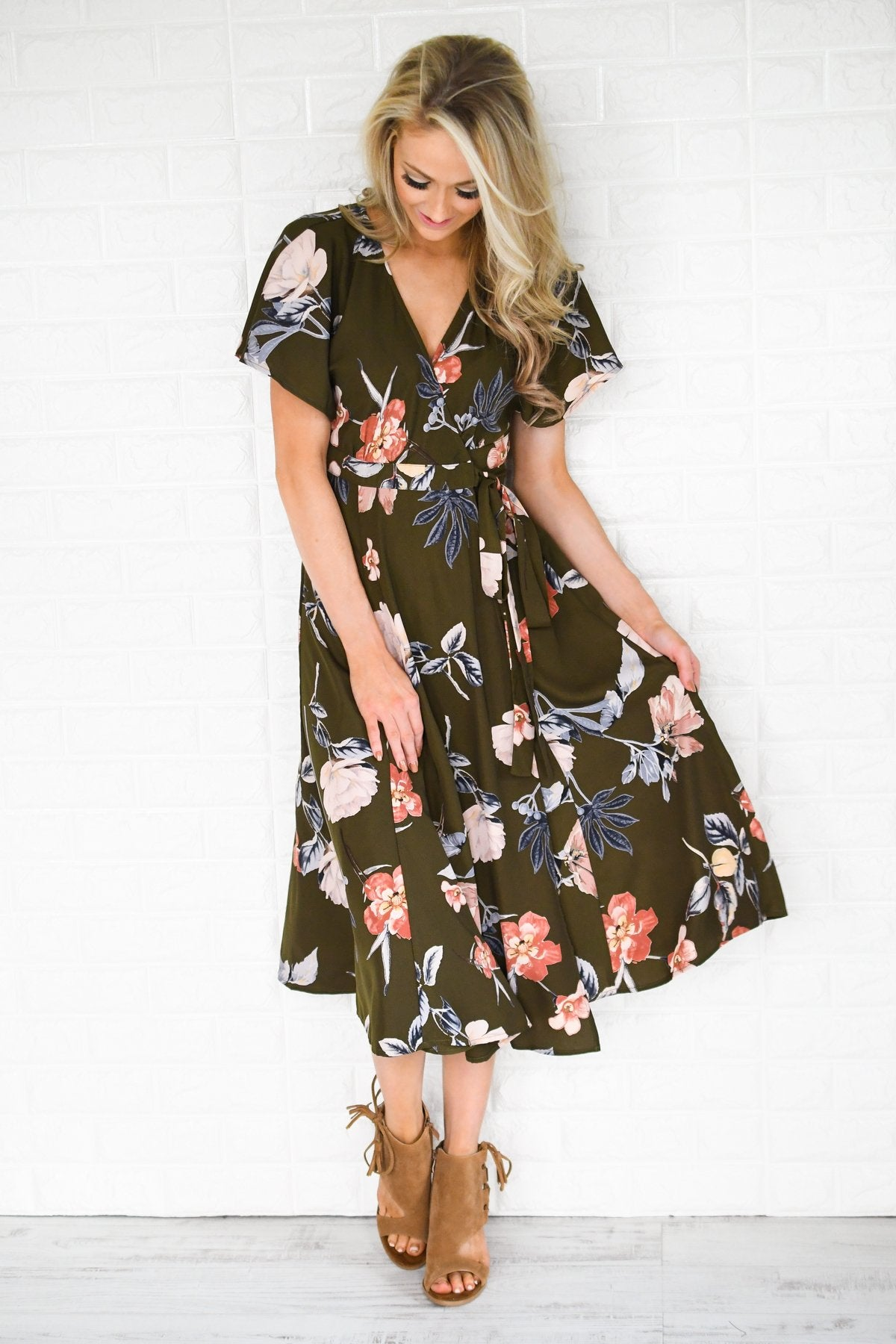 Flaunt it Babe Olive Floral Wrap Dress