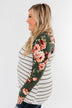 The Perfect Day Striped Floral Top- Olive & Ivory