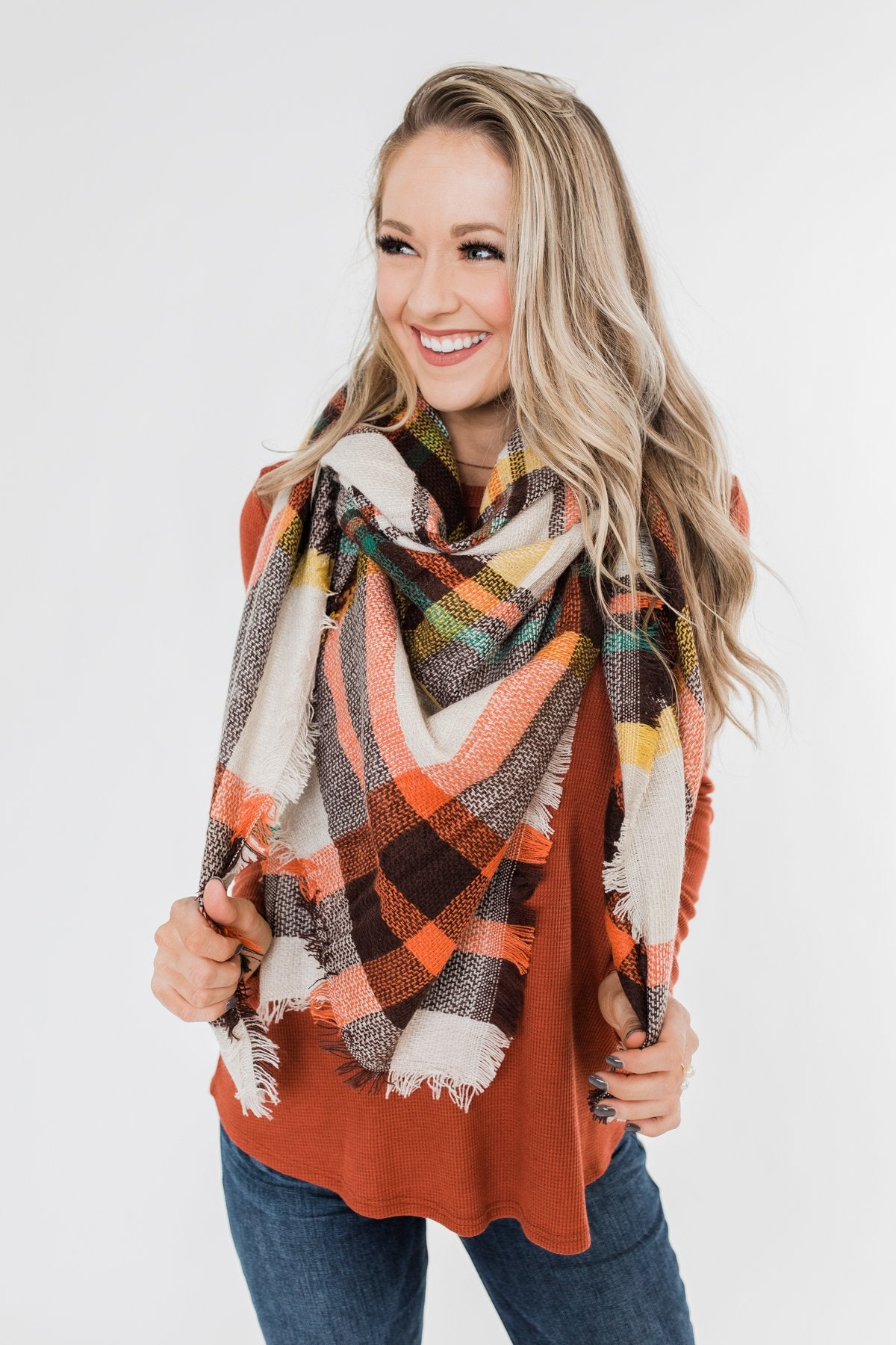 Blanket Scarf- Mocha, Green, & Chocolate