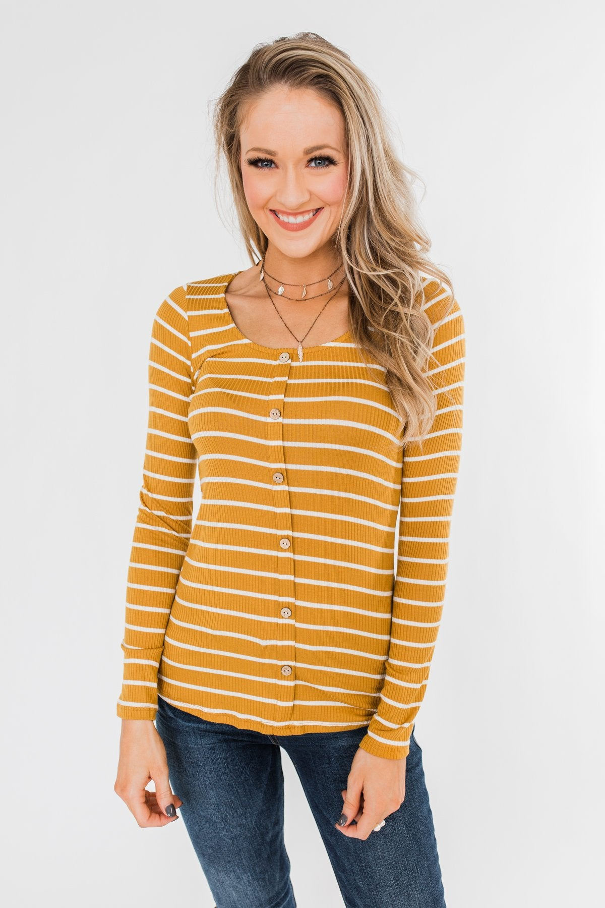 Sounds So Nice Long Sleeve Button Top- Mustard