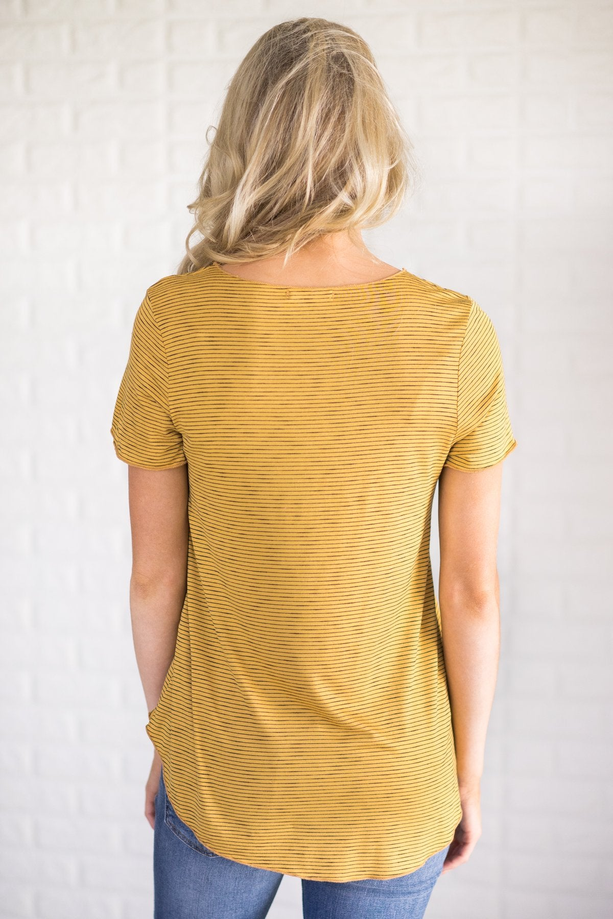 Fit to Me Striped Short Sleeve Tee ~ Yellow