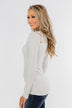 Lace Back 5-Button Henley Top- Light Heather Grey