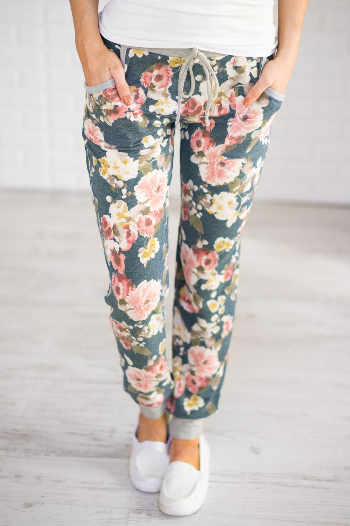 My Favorite Floral Joggers ~ Teal
