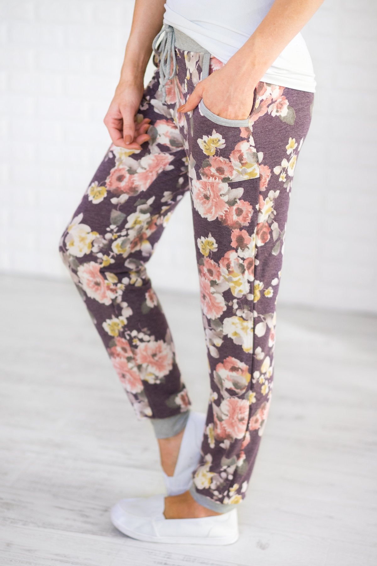 My Favorite Floral Joggers ~ Purple