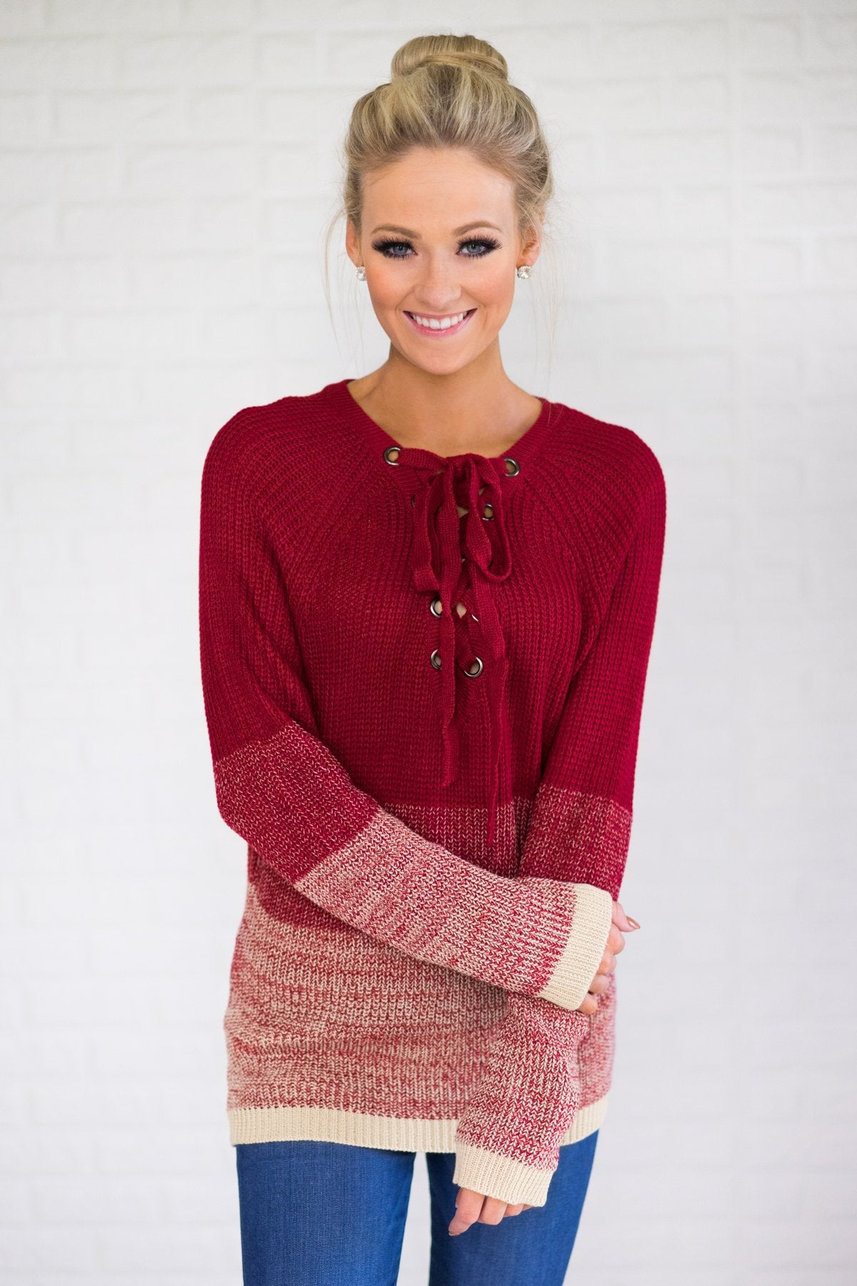 7ead5c3bf Ombre Lace Up Red Sweater – The Pulse Boutique