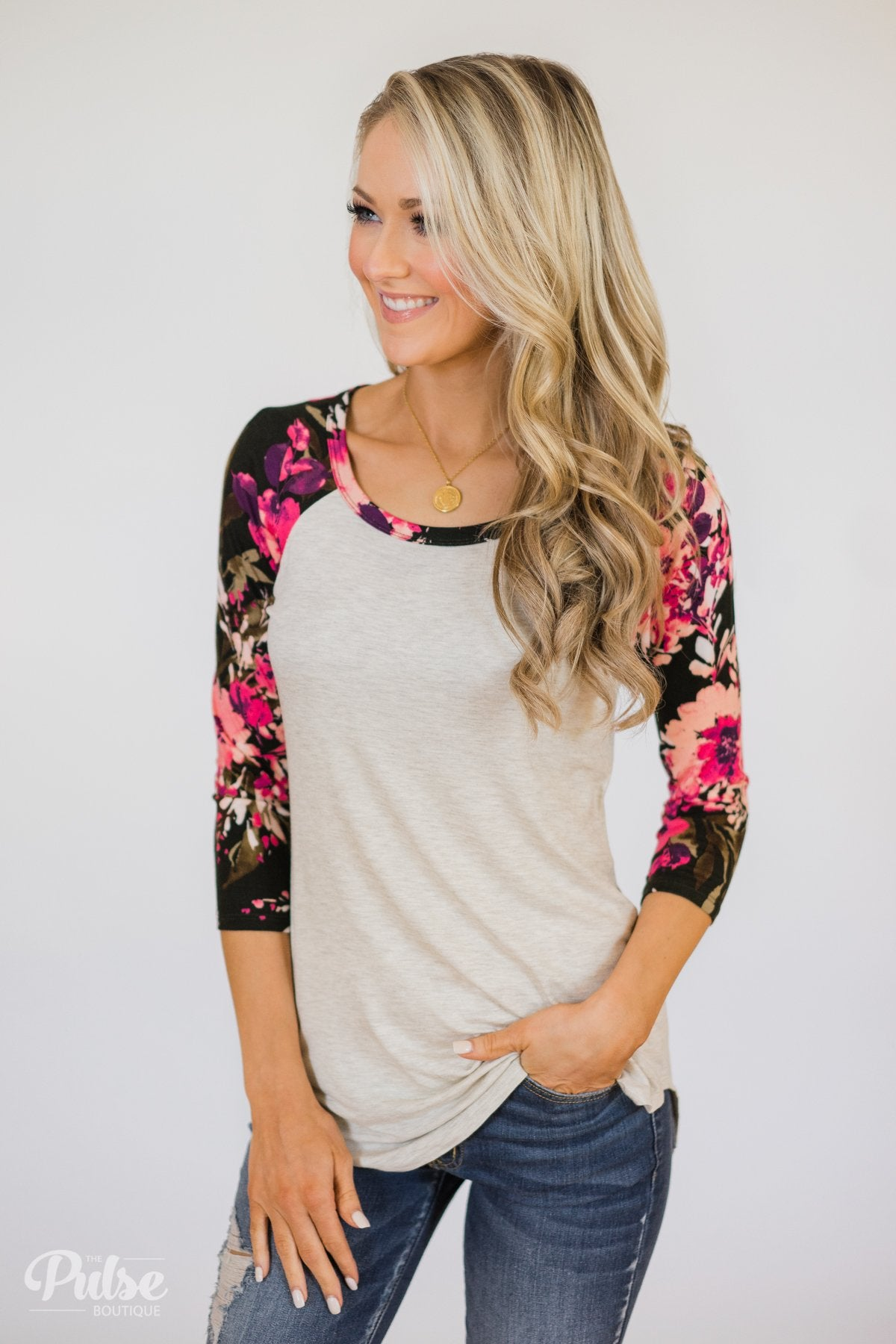 Better Love 3/4 Sleeve Floral Top- Oatmeal