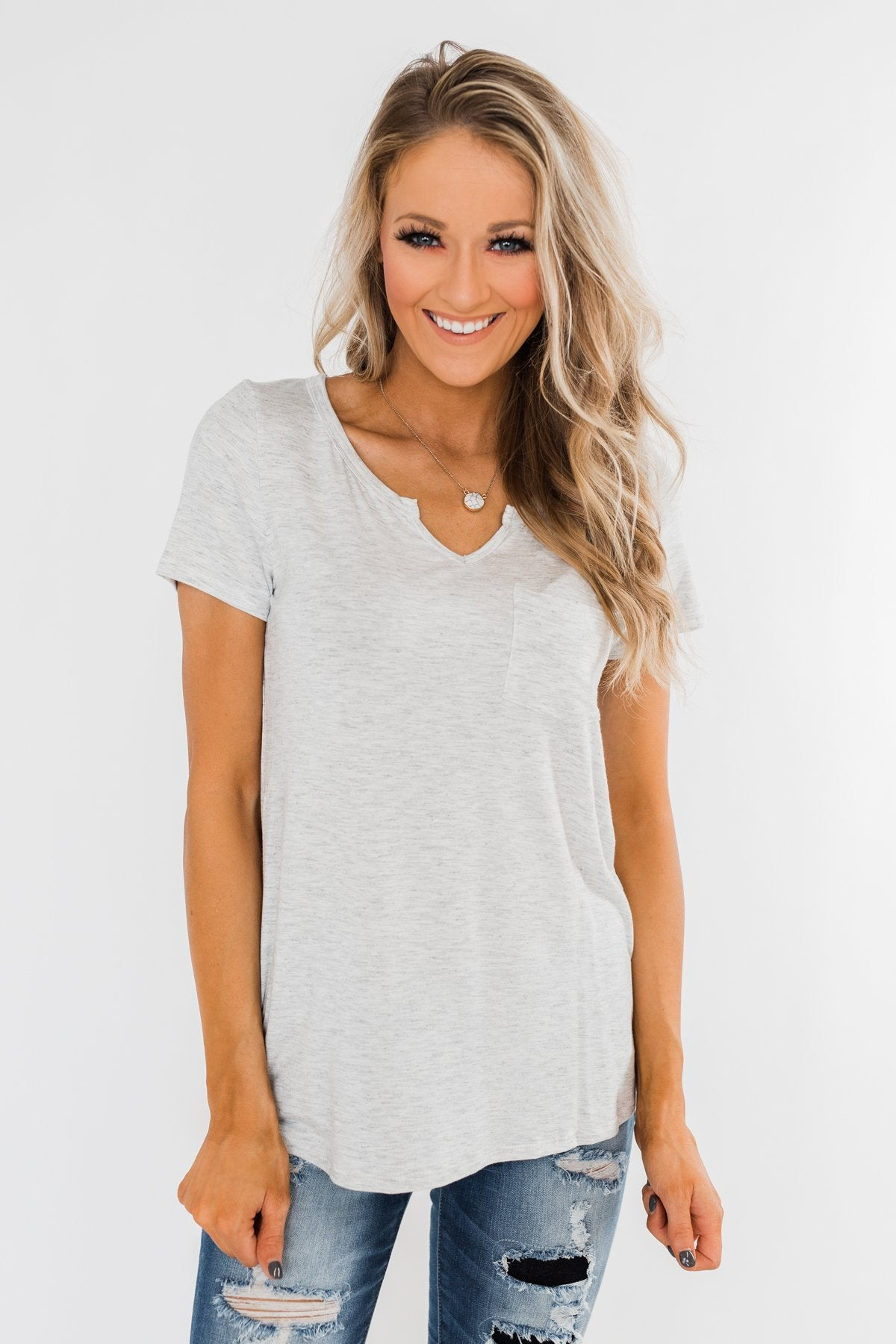 This is Me Notch Pocket Top- Light Heather Grey