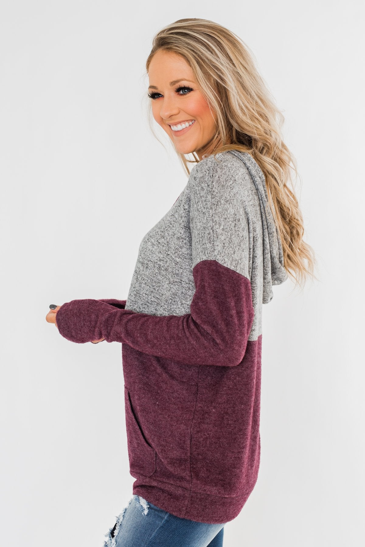 Melting Into You Drawstring Hoodie- Plum & Heather Grey