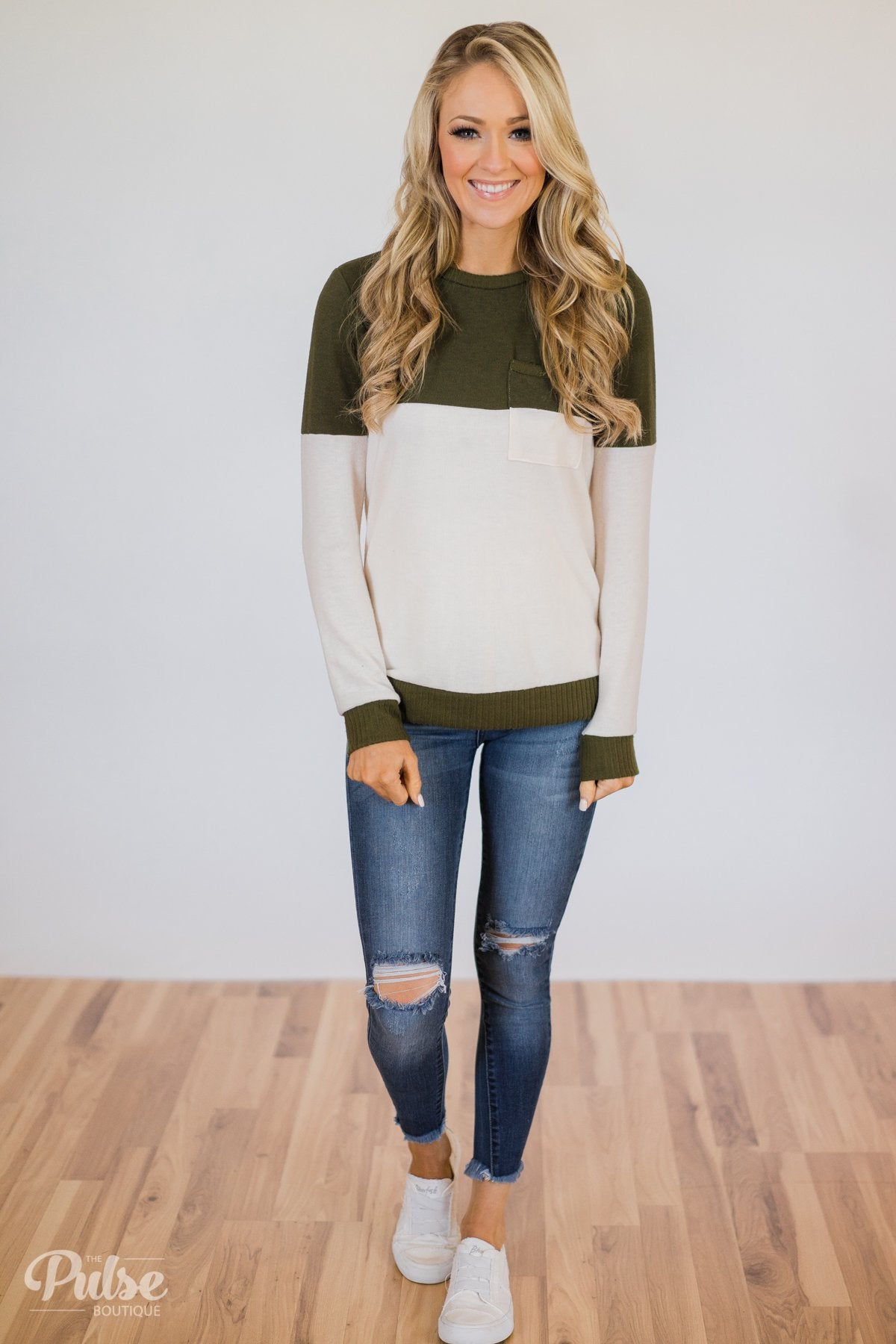 Easy Day Color Block Crewneck Sweater- Olive