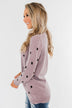 Together We Can Polka Dot Sweater- Dusty Purple