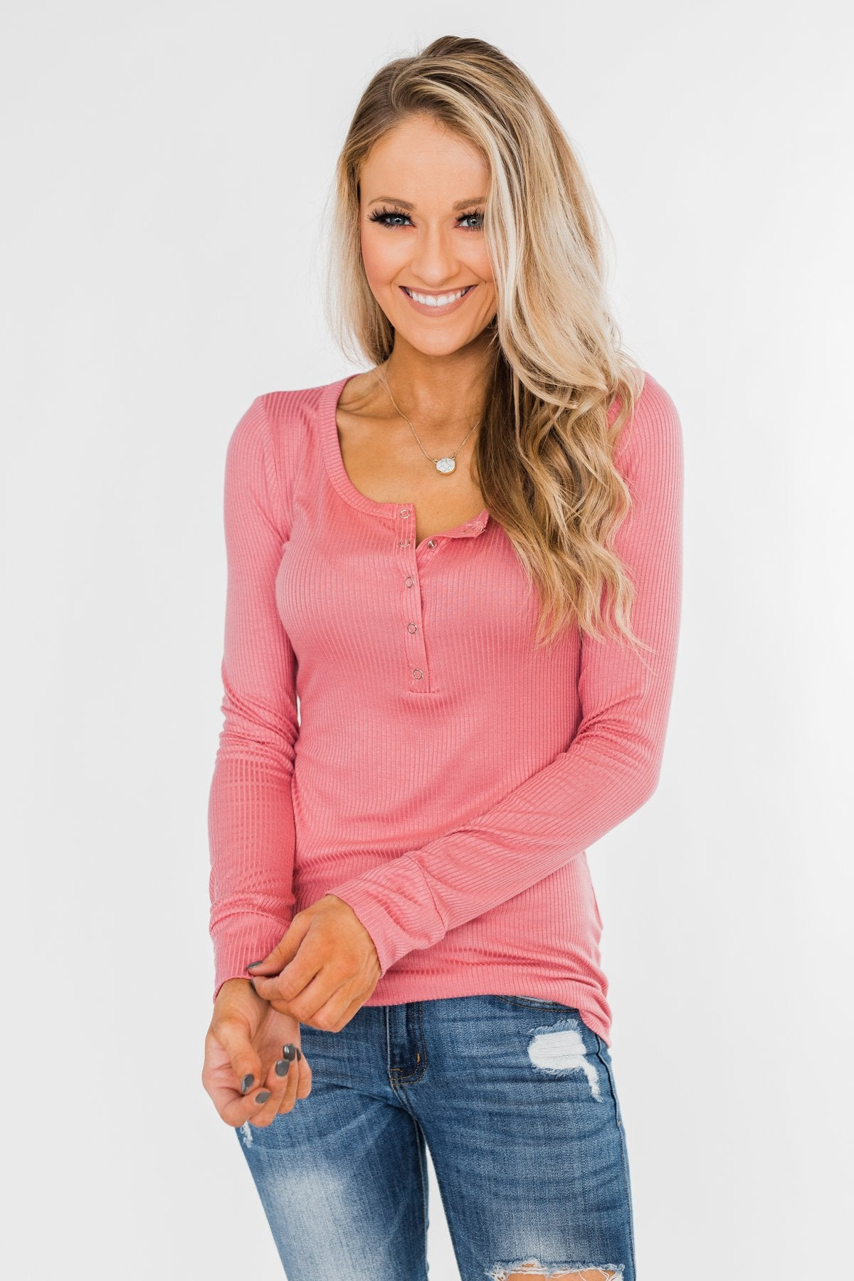 Snap Button Henley Top- Rose Pink