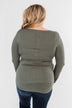 Snap Button Henley Top- Olive