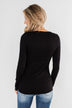 Snap Button Henley Top- Black