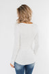 Snap Button Henley Top- Ivory