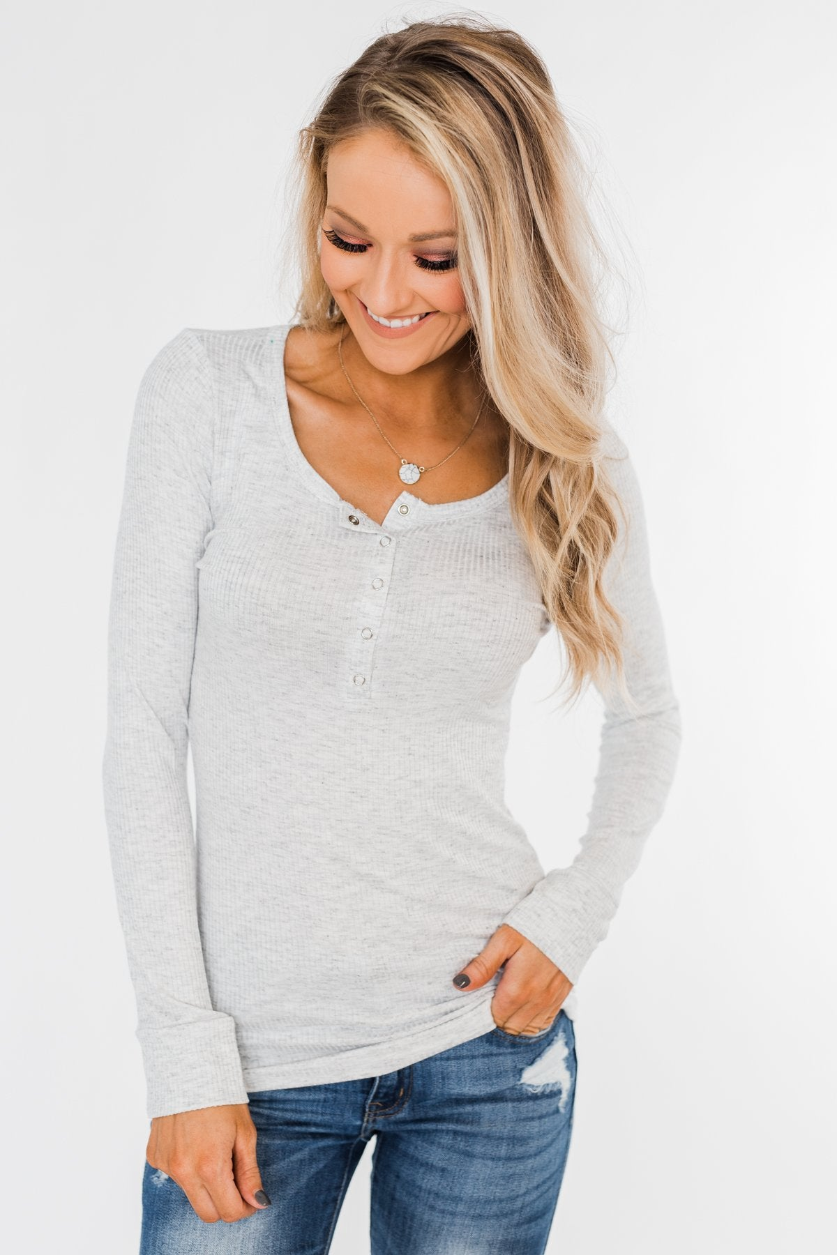 Snap Button Henley Top- Heather Grey
