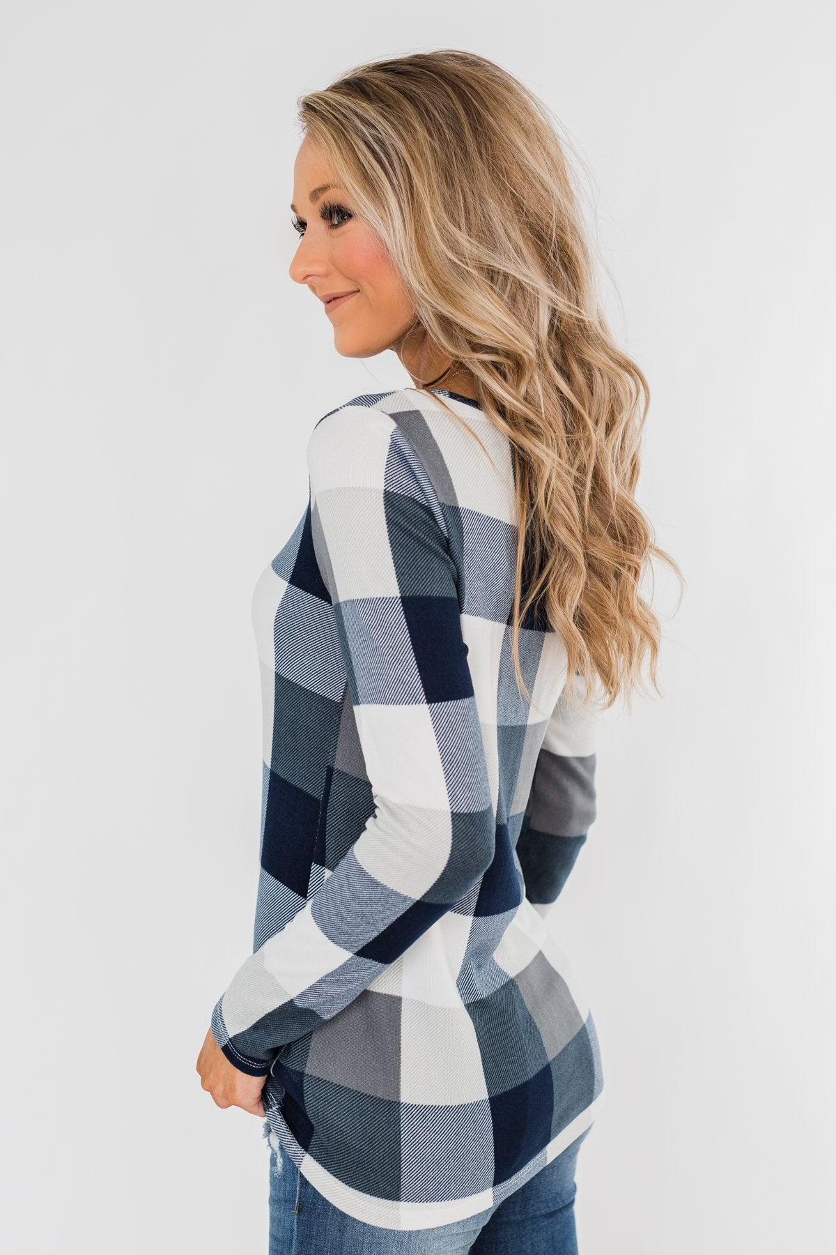 Dreaming About You Plaid Top- Navy & Ivory