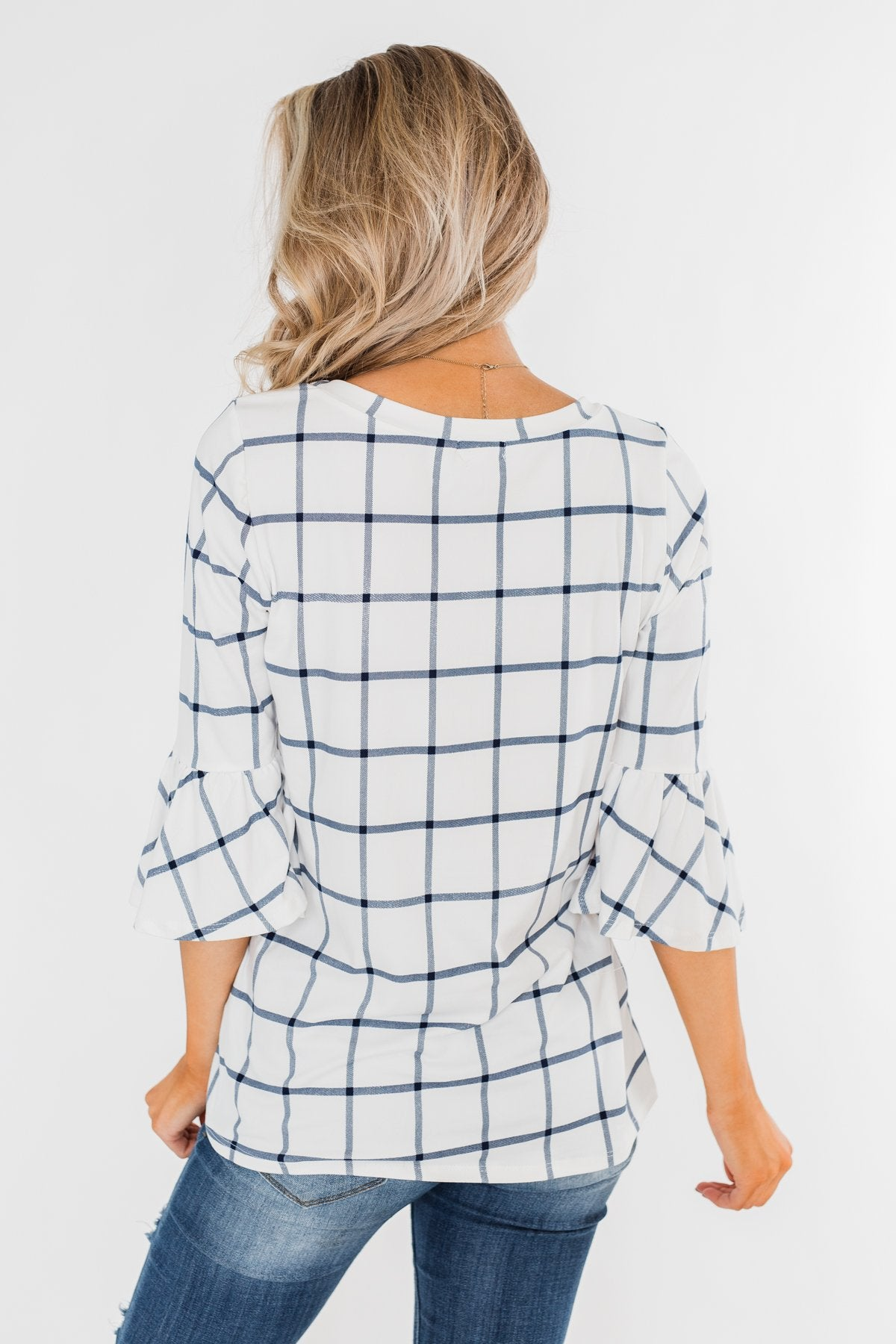 Everything I Need Plaid Top- Ivory & Blue