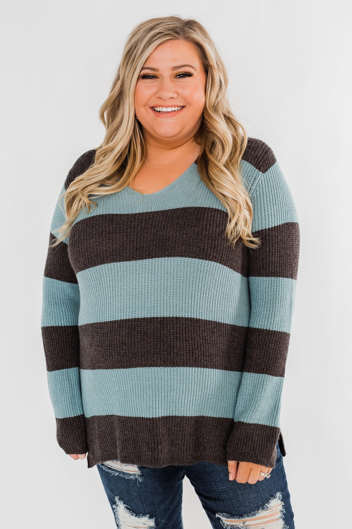 Striped Knit Sweater- Blue & Charcoal
