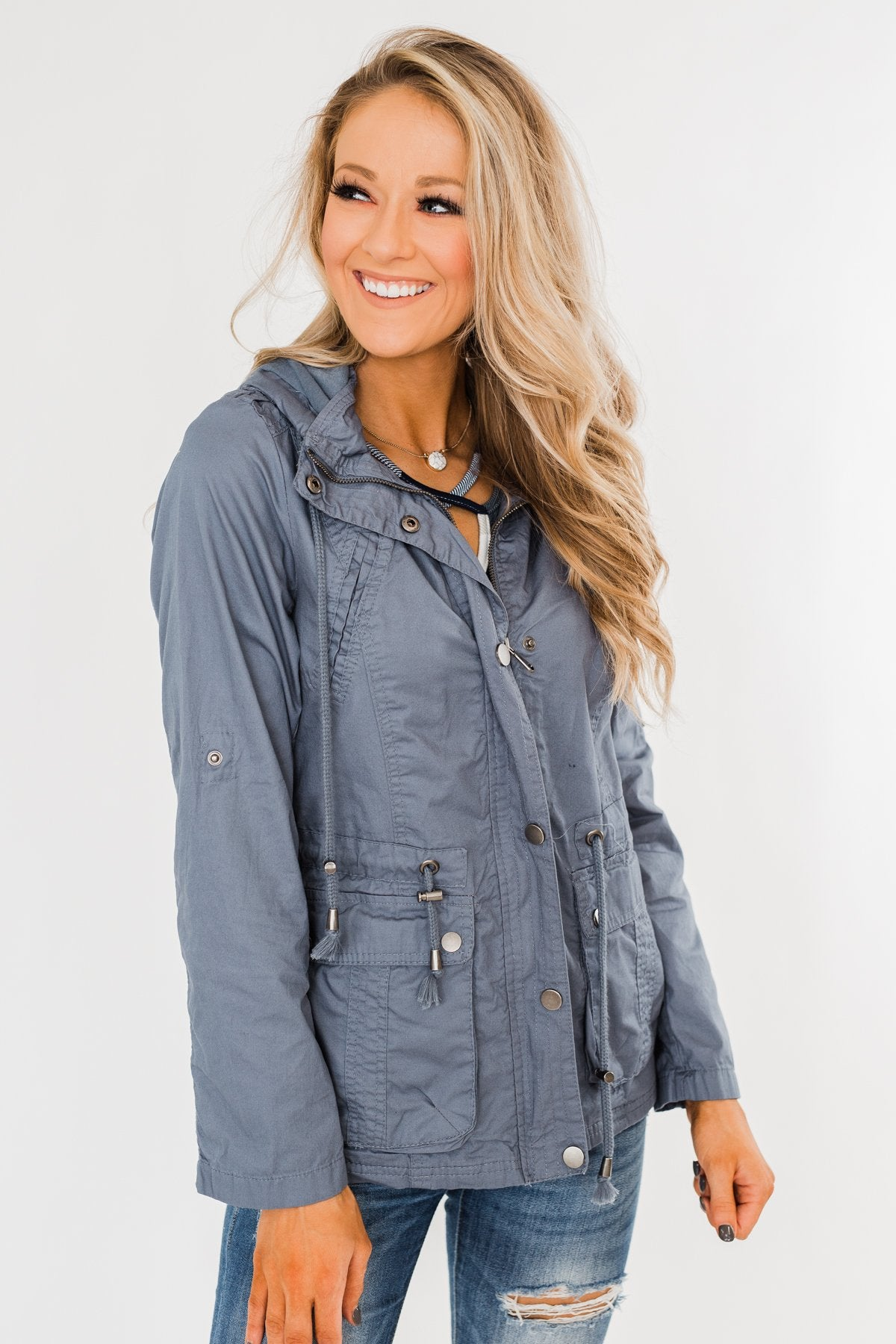 Walk With Me Cinch Jacket- Slate Blue