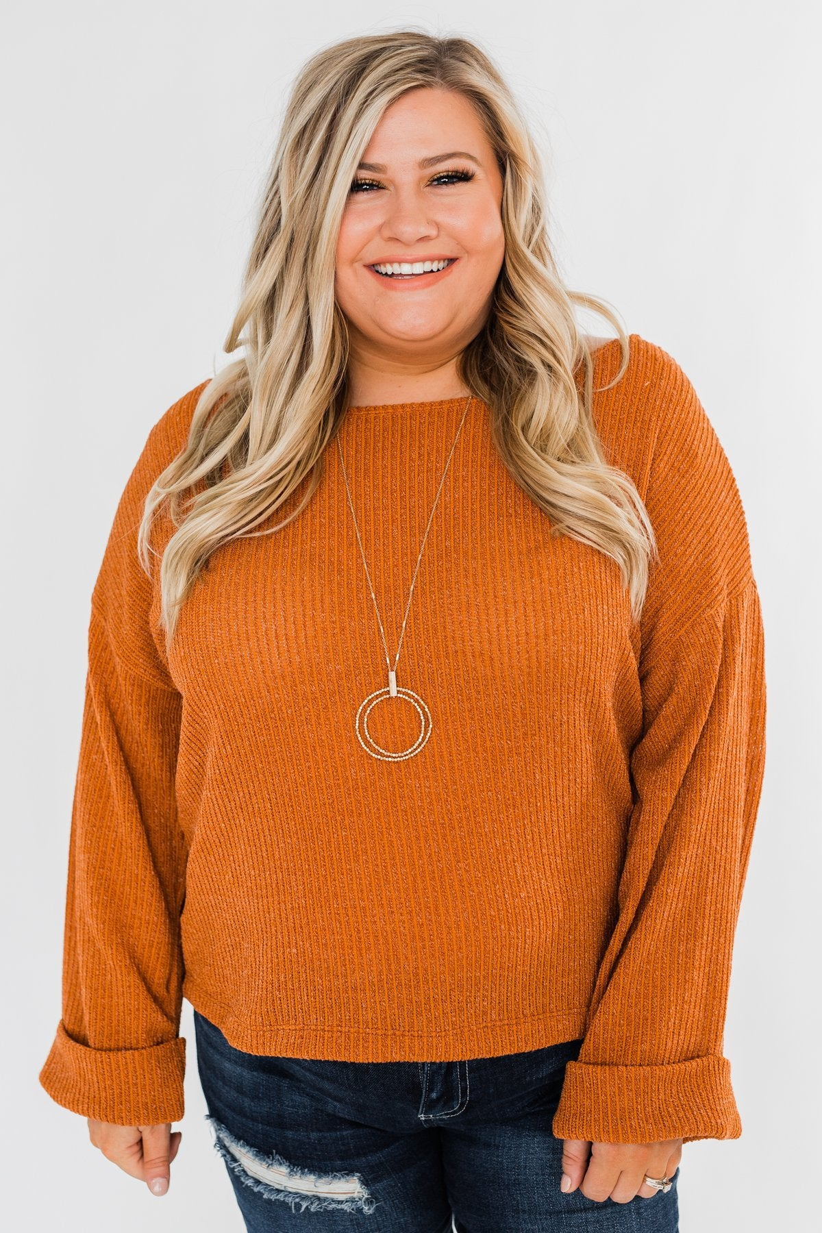 Button Down Back Sweater- Burnt Orange