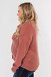 When We're Together Waffle Knit Top- Dusty Rose