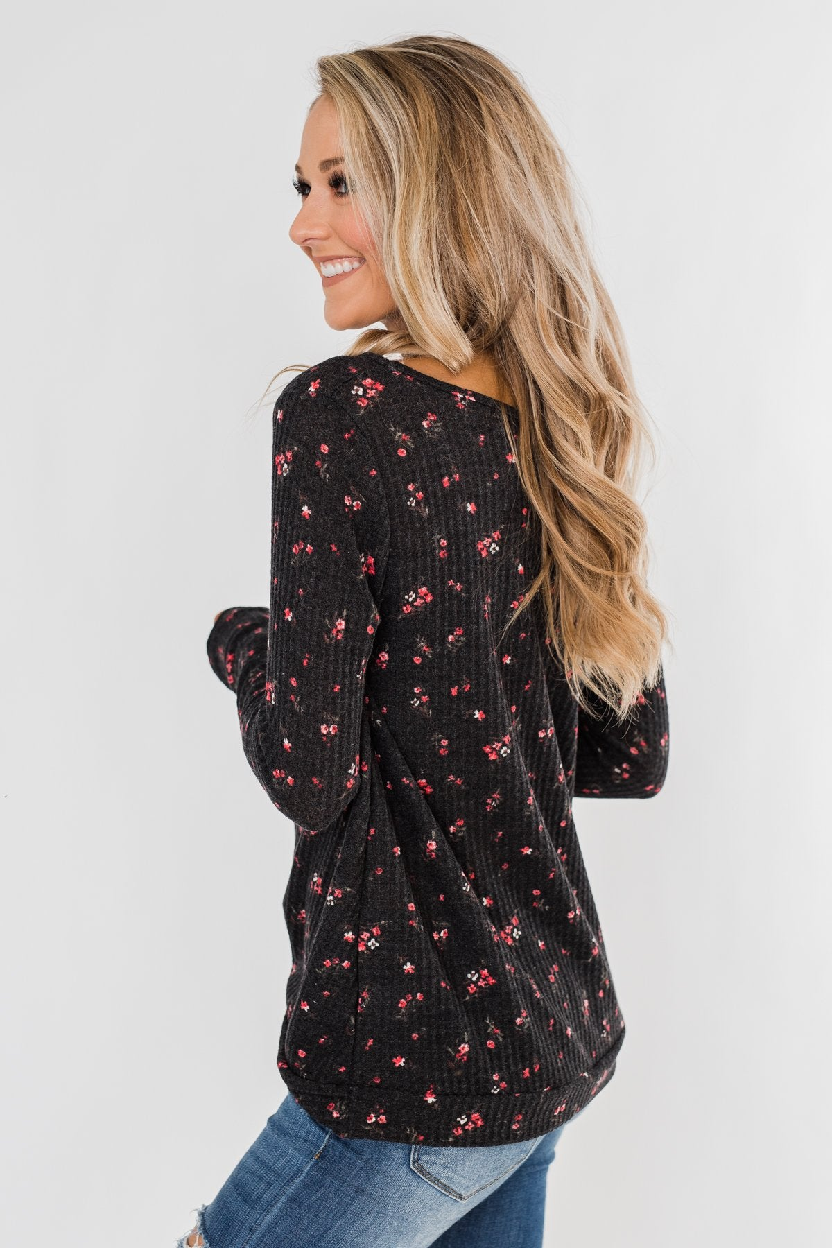 Above The Rest Floral Twist Top- Black