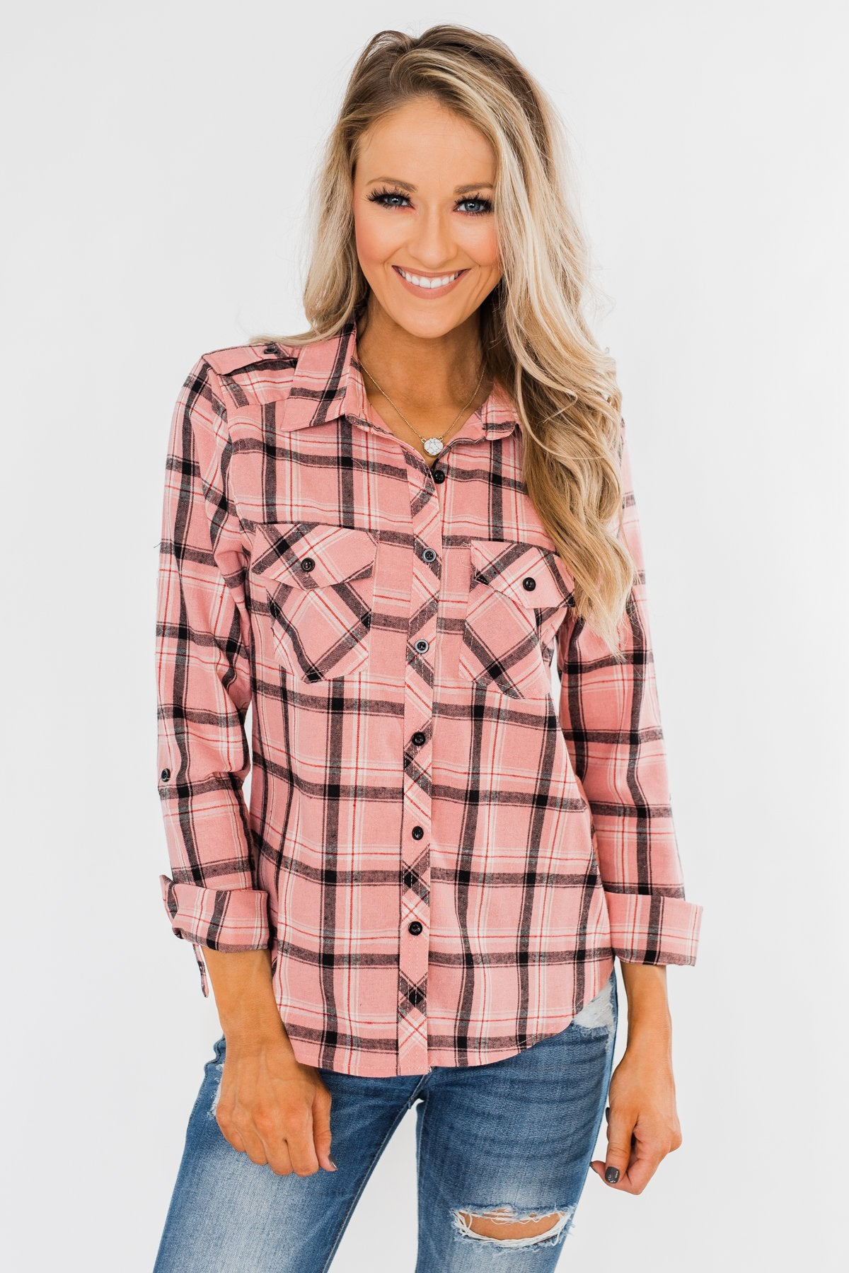 I've Been Told Long Sleeve Plaid Top- Light Pink
