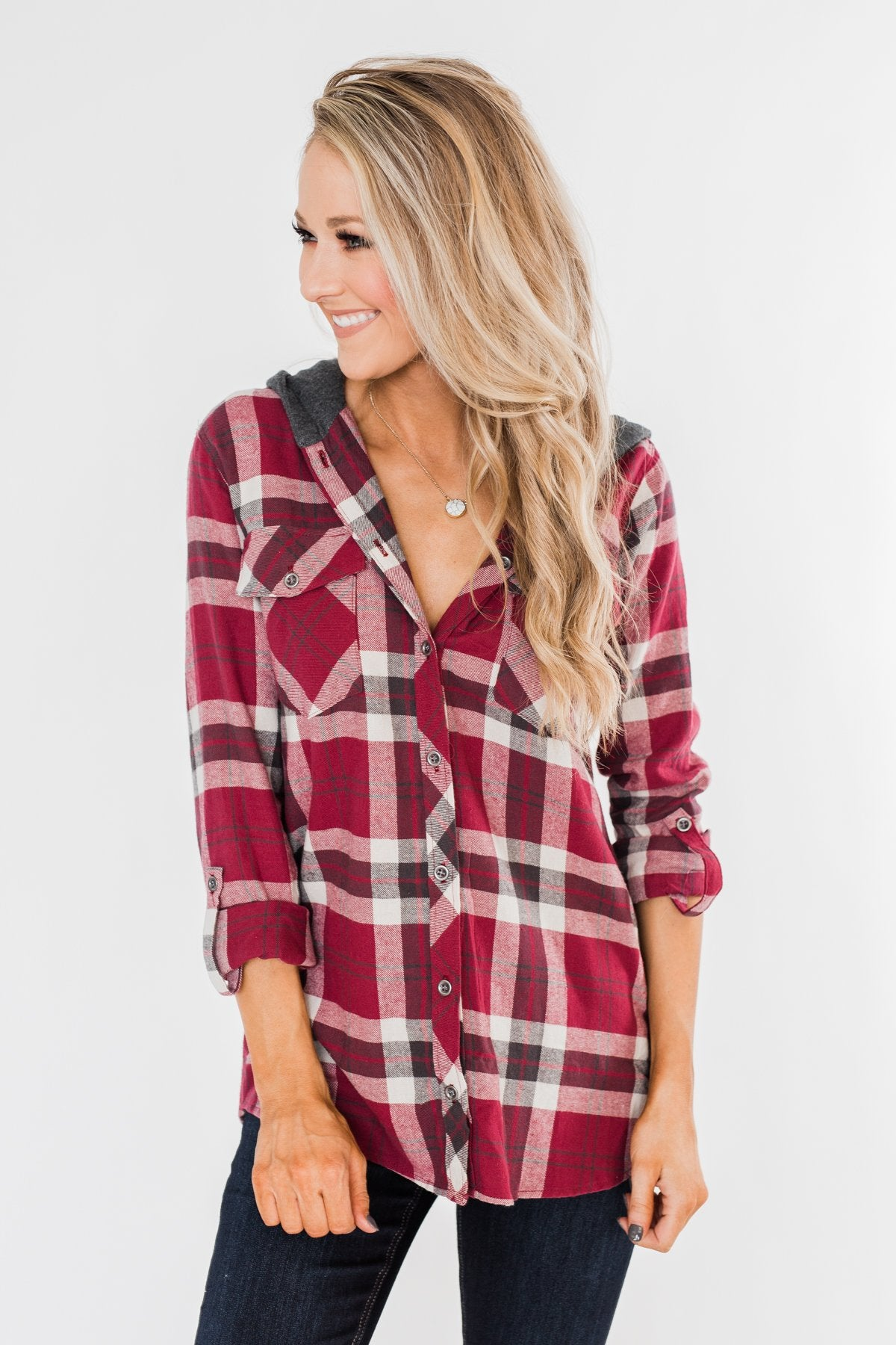 So Long To You Plaid Hooded Top- Dark Berry