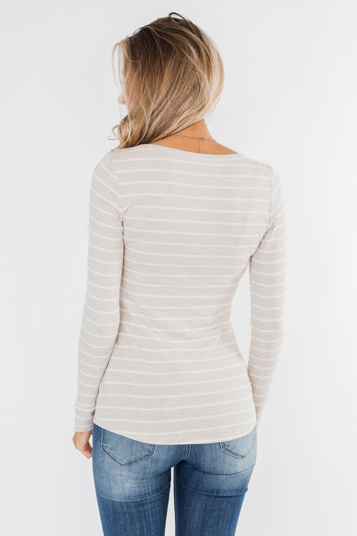 Essential 5-Button Henley Top- Heathered Oatmeal & Ivory