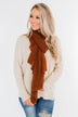 Knit Wrap Scarf- Dark Rust