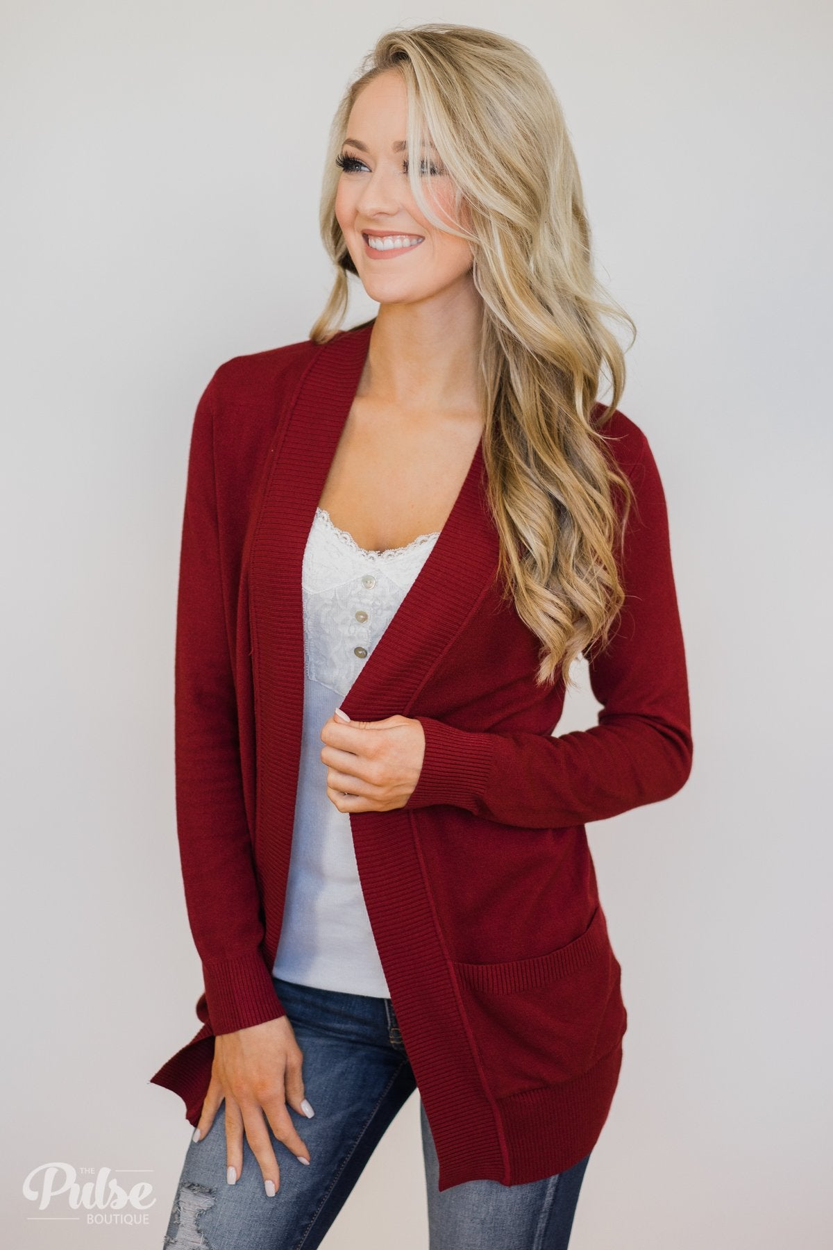 Essential Cardigan- Burgundy