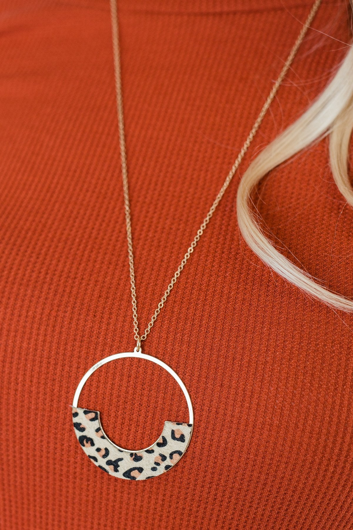Long Animal Print Circle Gold Necklace- Leopard