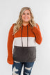 Make Me Smile Color Block Hoodie- Burnt Orange & Charcoal