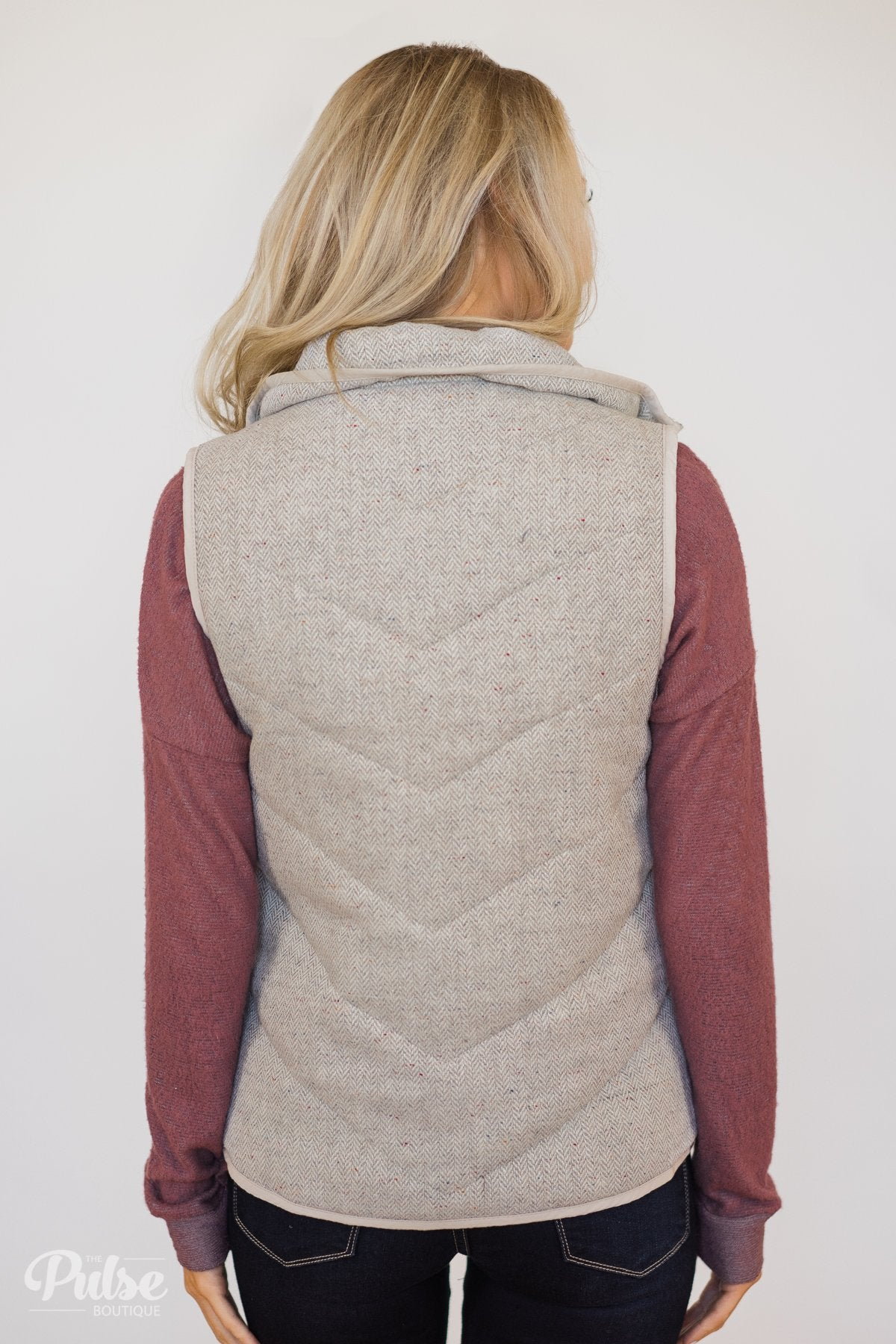 Speckled Vest- Creamy Grey